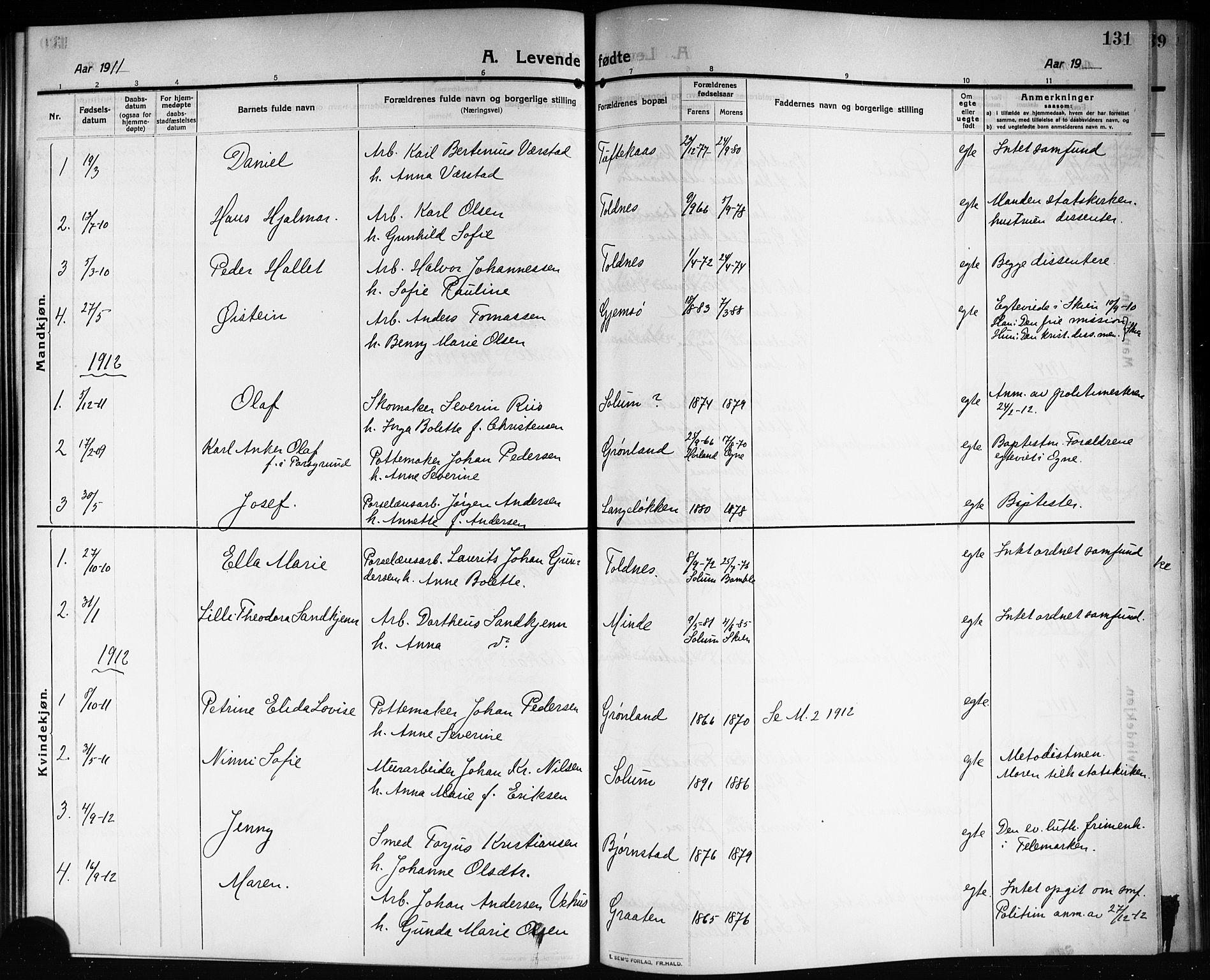 SAKO, Solum kirkebøker, G/Ga/L0009: Klokkerbok nr. I 9, 1909-1922, s. 131