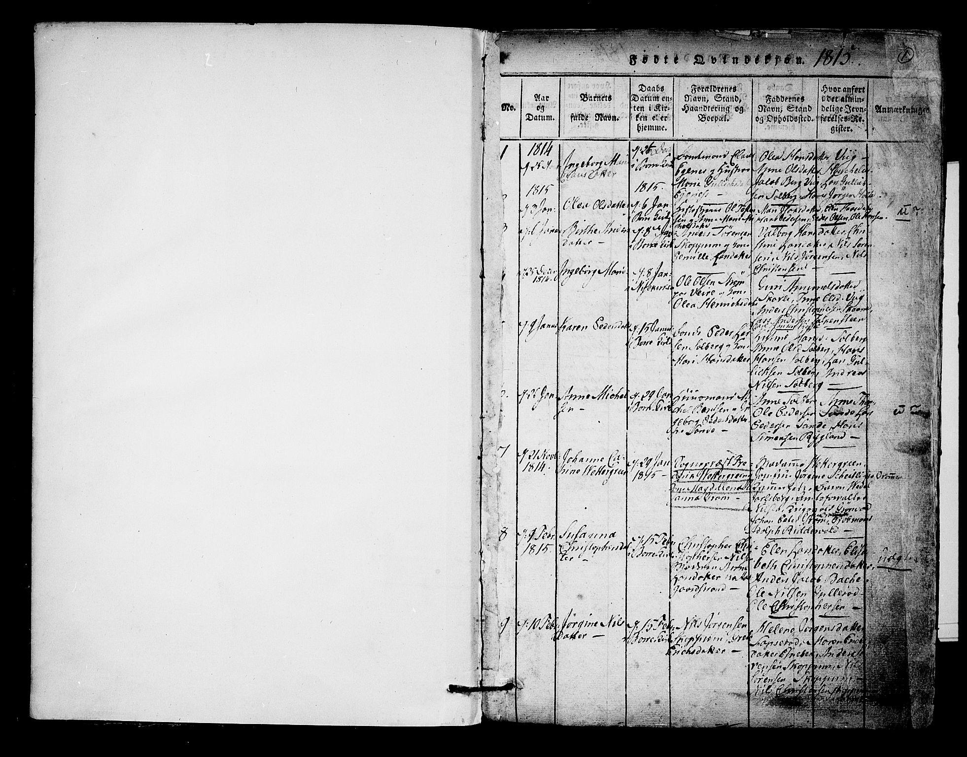 SAKO, Borre kirkebøker, F/Fa/L0004: Ministerialbok nr. I 4, 1815-1845, s. 0-1