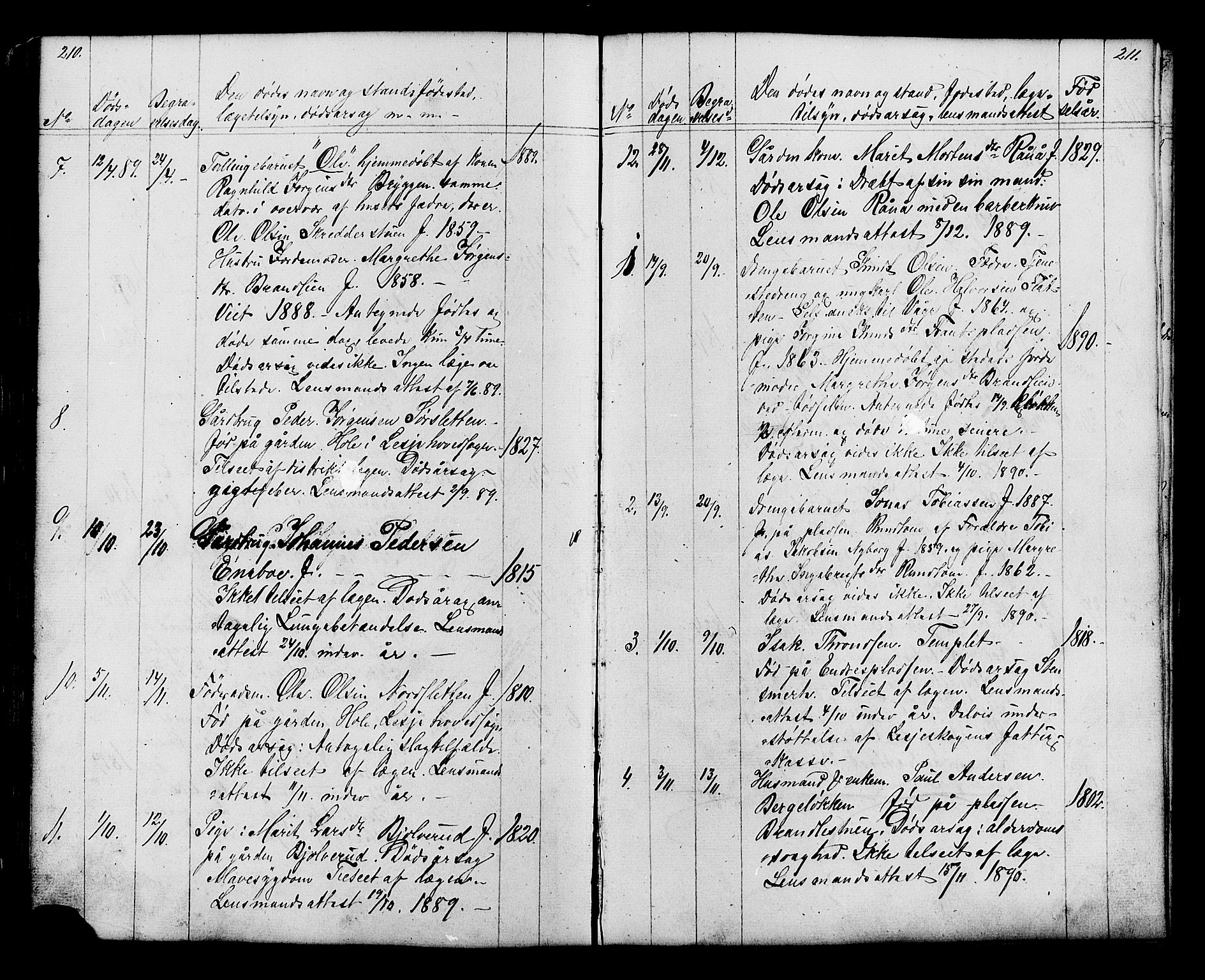 SAH, Lesja prestekontor, Klokkerbok nr. 6, 1871-1904, s. 210-211