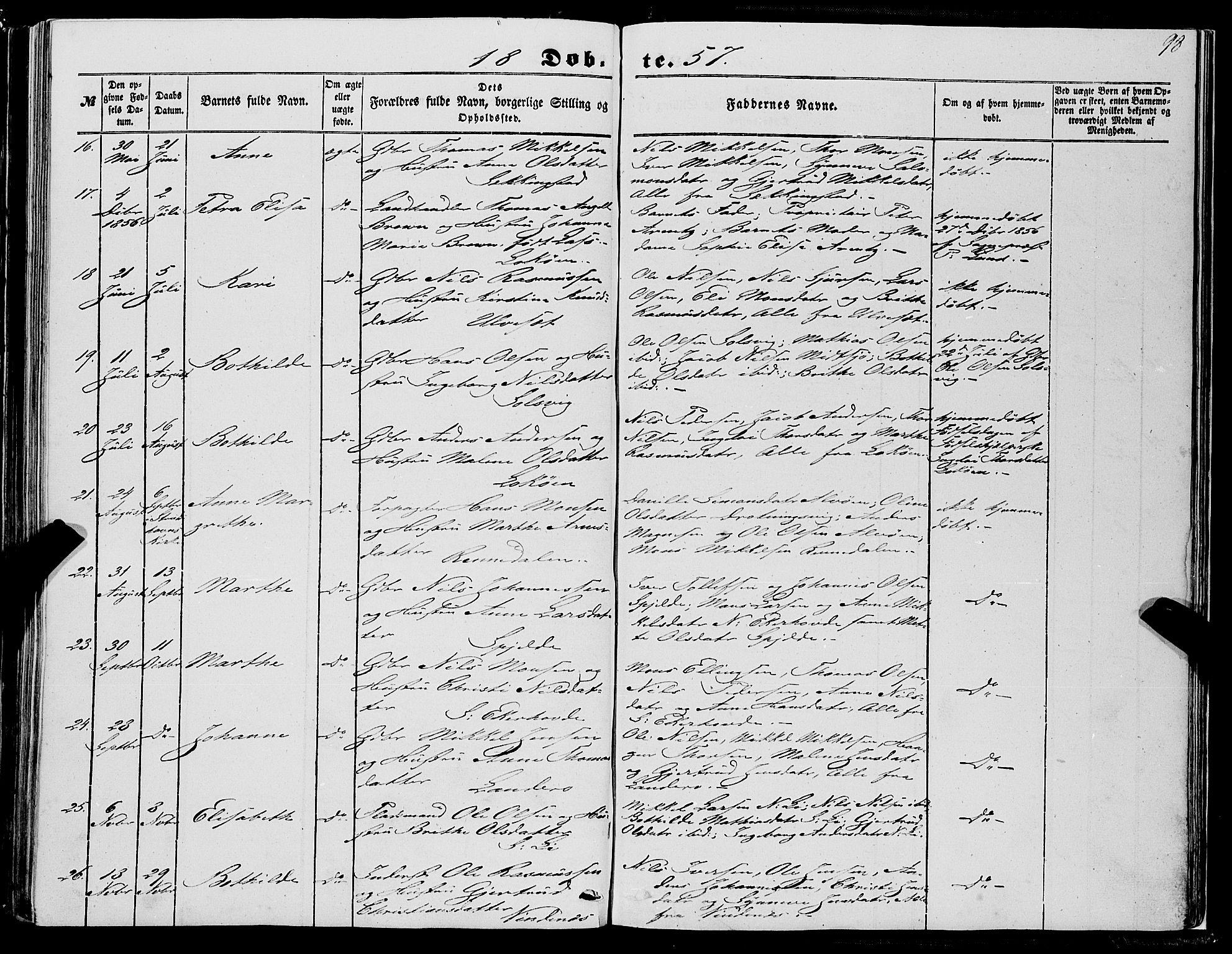 SAB, Fjell Sokneprestembete, H/Haa: Ministerialbok nr. A 2, 1847-1864, s. 98