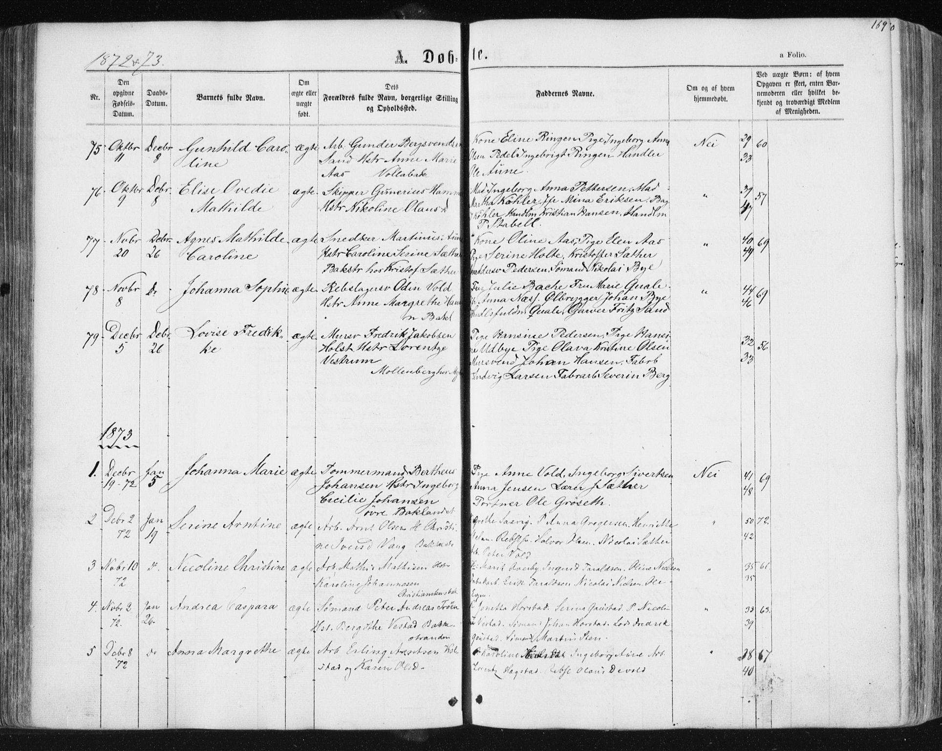 SAT, Ministerialprotokoller, klokkerbøker og fødselsregistre - Sør-Trøndelag, 604/L0186: Ministerialbok nr. 604A07, 1866-1877, s. 169