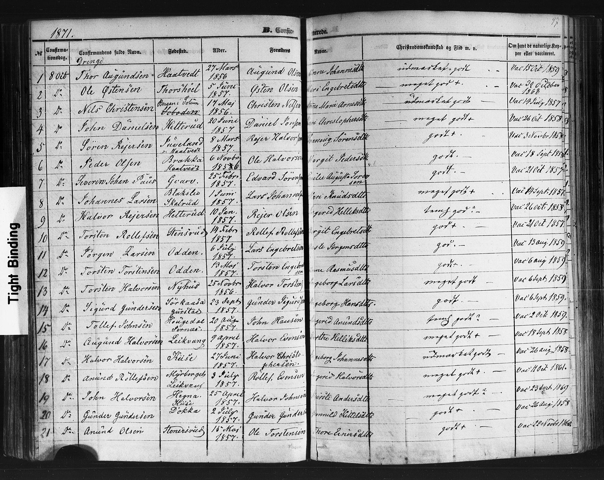 SAKO, Sauherad kirkebøker, F/Fb/L0001: Ministerialbok nr. II 1, 1851-1877, s. 97