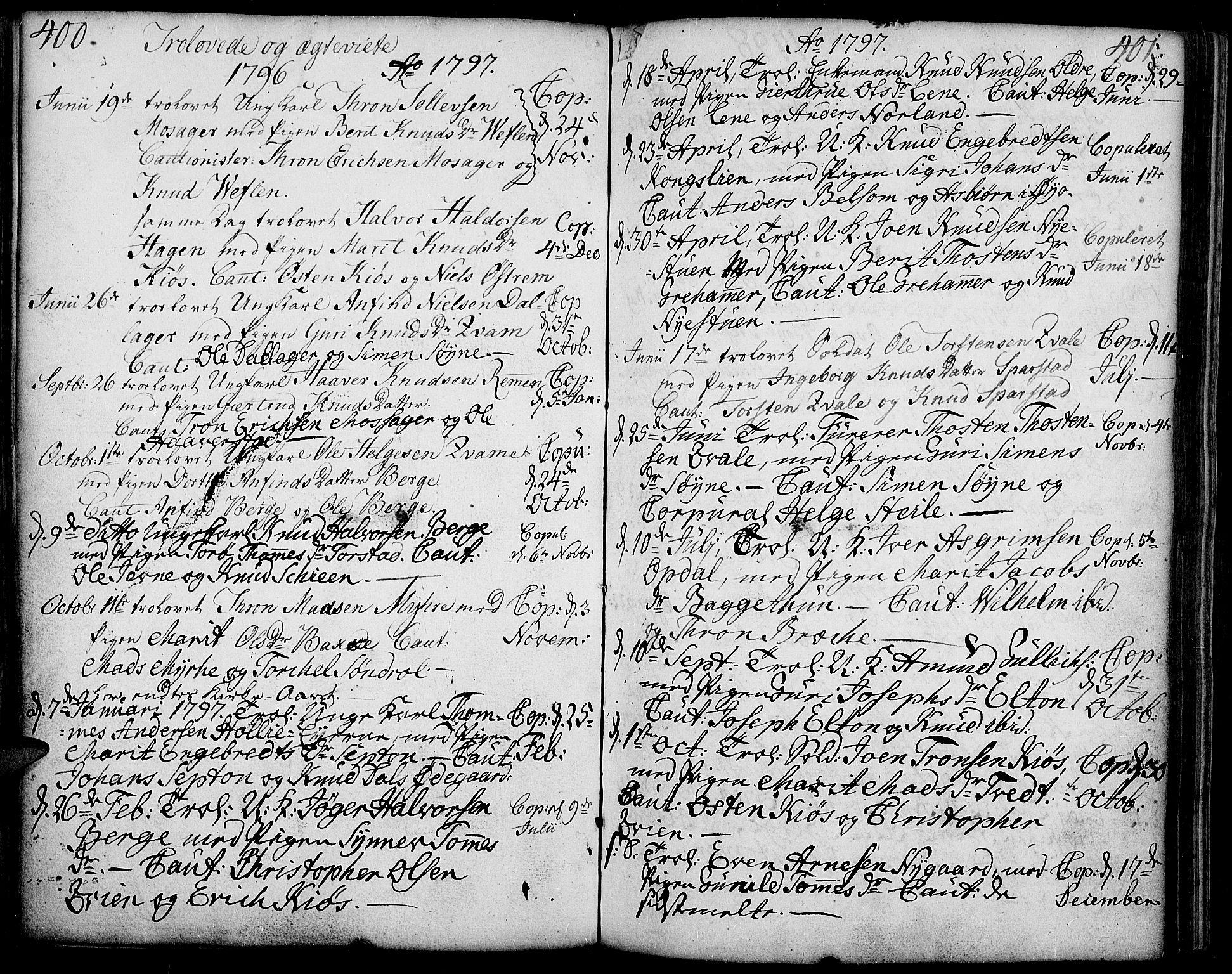 SAH, Vang prestekontor, Valdres, Ministerialbok nr. 2, 1796-1808, s. 400-401