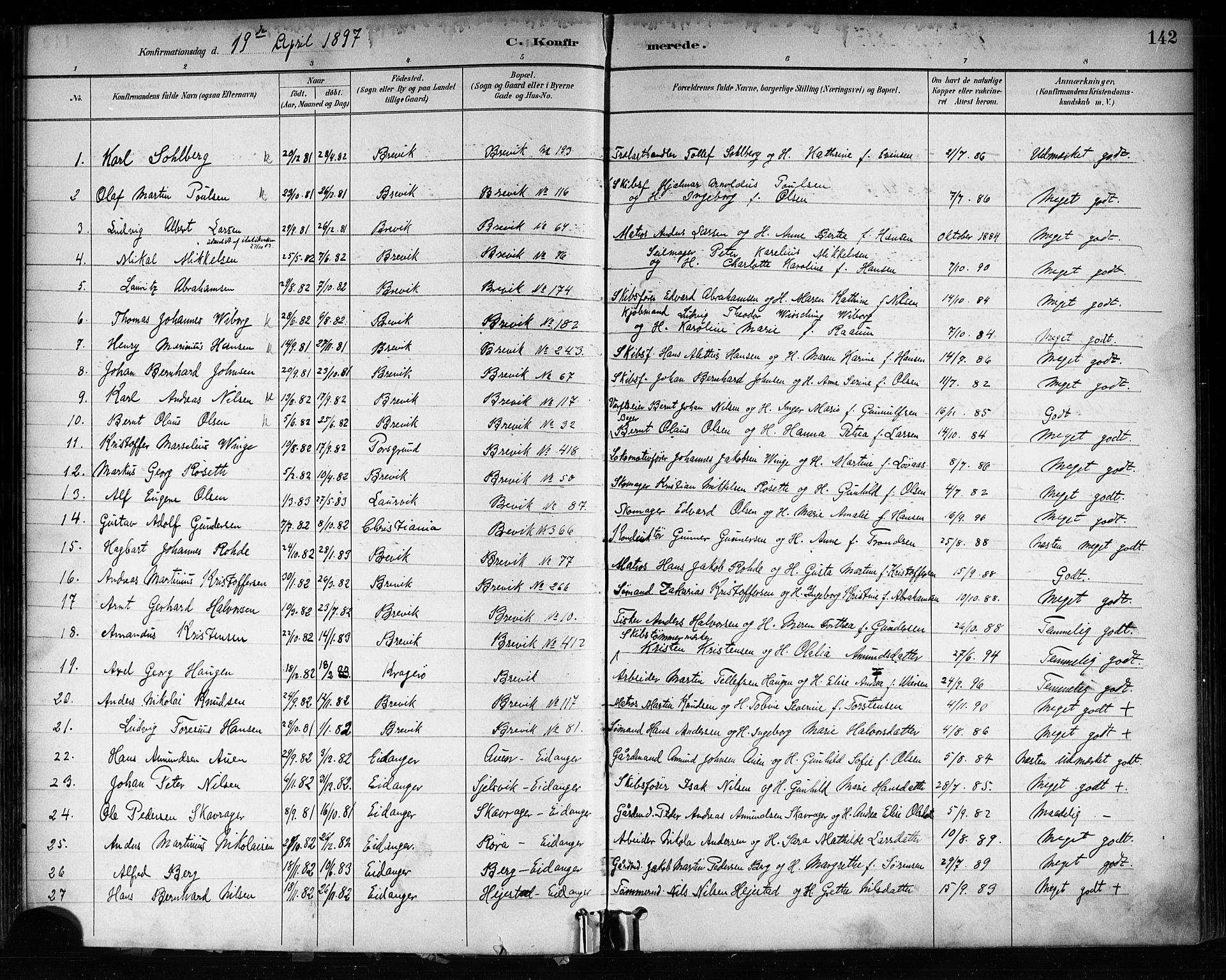 SAKO, Brevik kirkebøker, F/Fa/L0007: Ministerialbok nr. 7, 1882-1900, s. 142