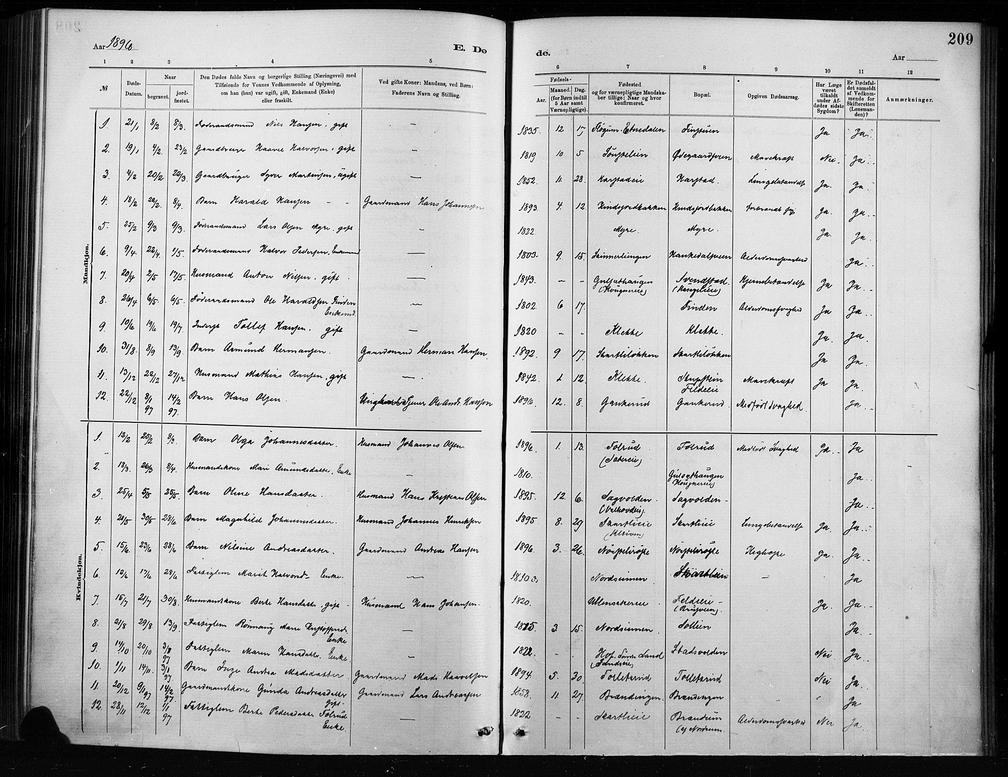 SAH, Nordre Land prestekontor, Ministerialbok nr. 4, 1882-1896, s. 209