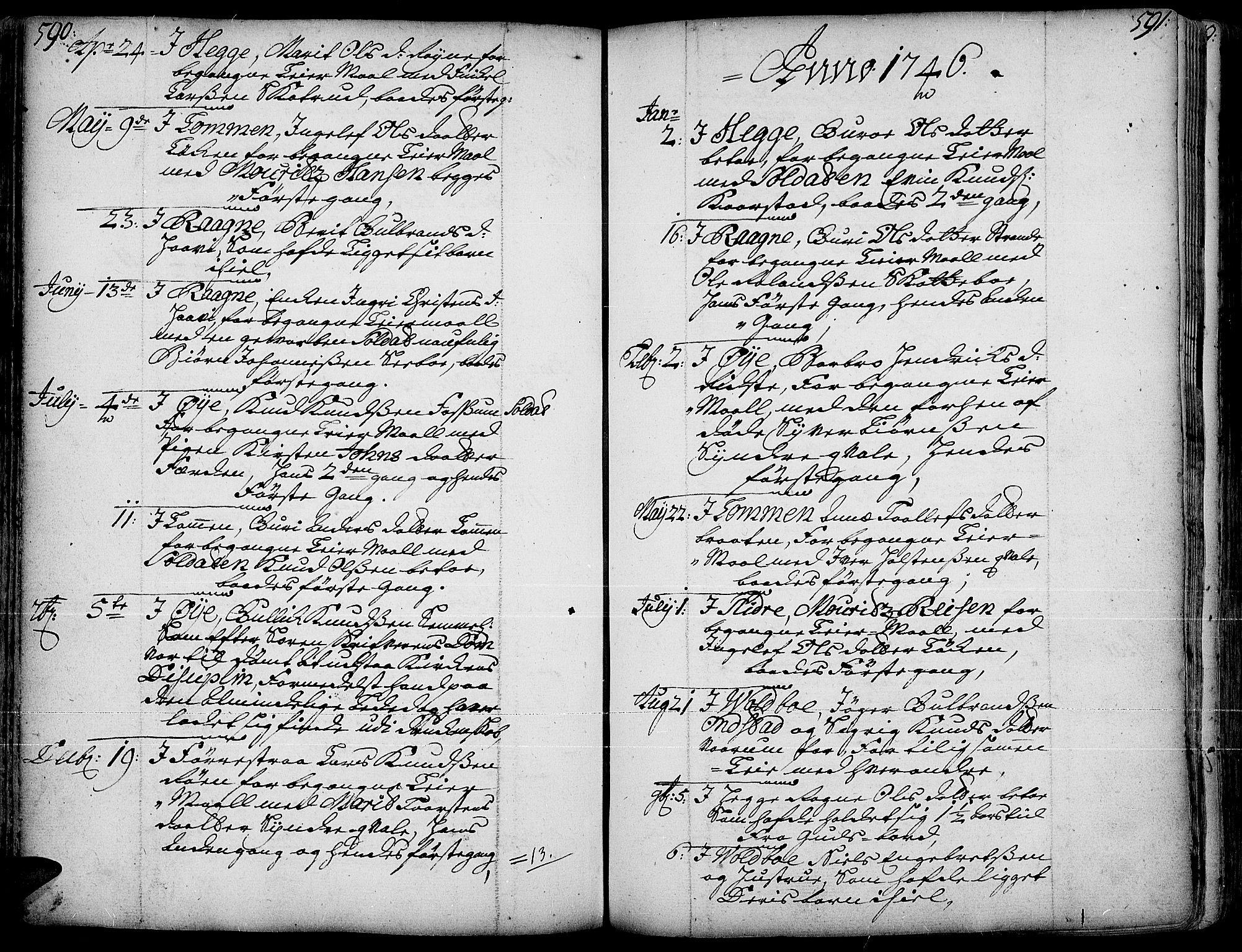 SAH, Slidre prestekontor, Ministerialbok nr. 1, 1724-1814, s. 590-591