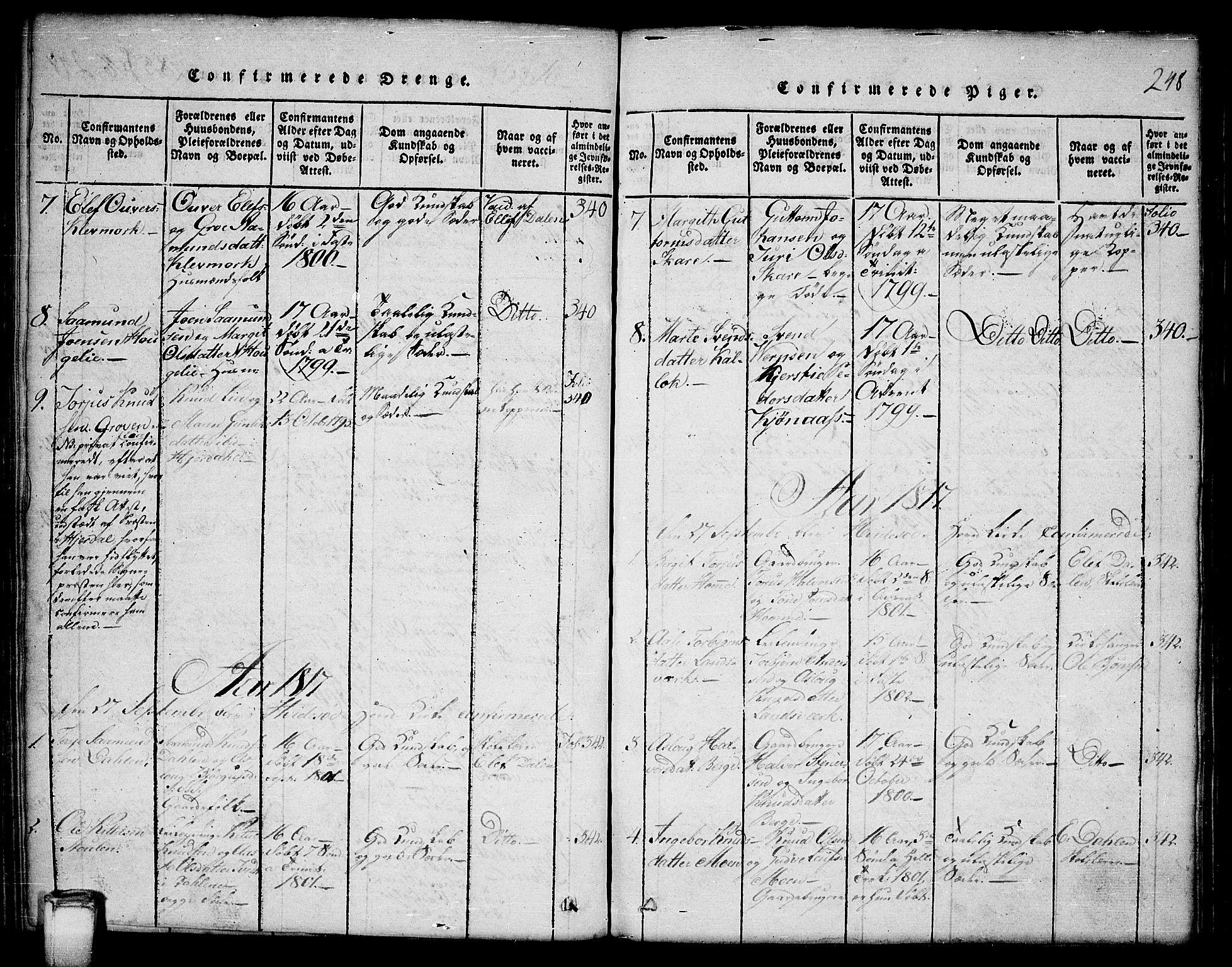 SAKO, Kviteseid kirkebøker, G/Gb/L0001: Klokkerbok nr. II 1, 1815-1842, s. 248