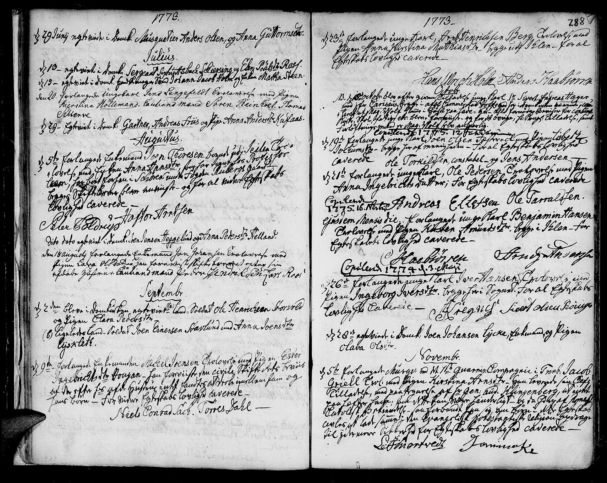 SAT, Ministerialprotokoller, klokkerbøker og fødselsregistre - Sør-Trøndelag, 601/L0038: Ministerialbok nr. 601A06, 1766-1877, s. 288