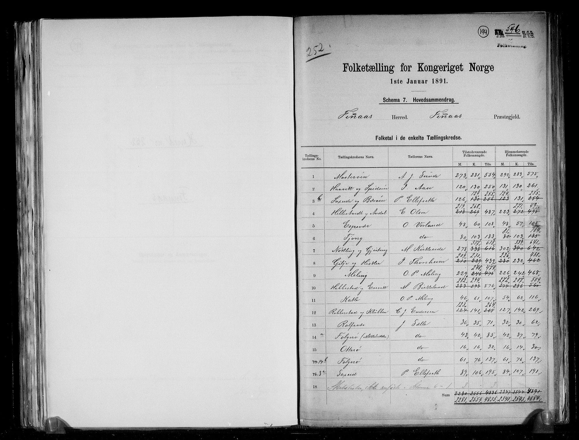 RA, Folketelling 1891 for 1218 Finnås herred, 1891, s. 2