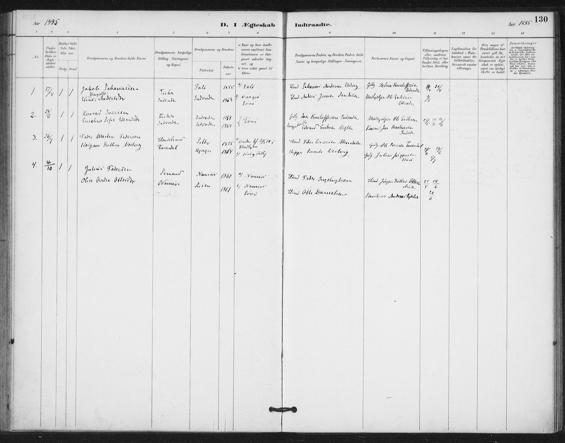 SAT, Ministerialprotokoller, klokkerbøker og fødselsregistre - Nord-Trøndelag, 772/L0603: Ministerialbok nr. 772A01, 1885-1912, s. 130