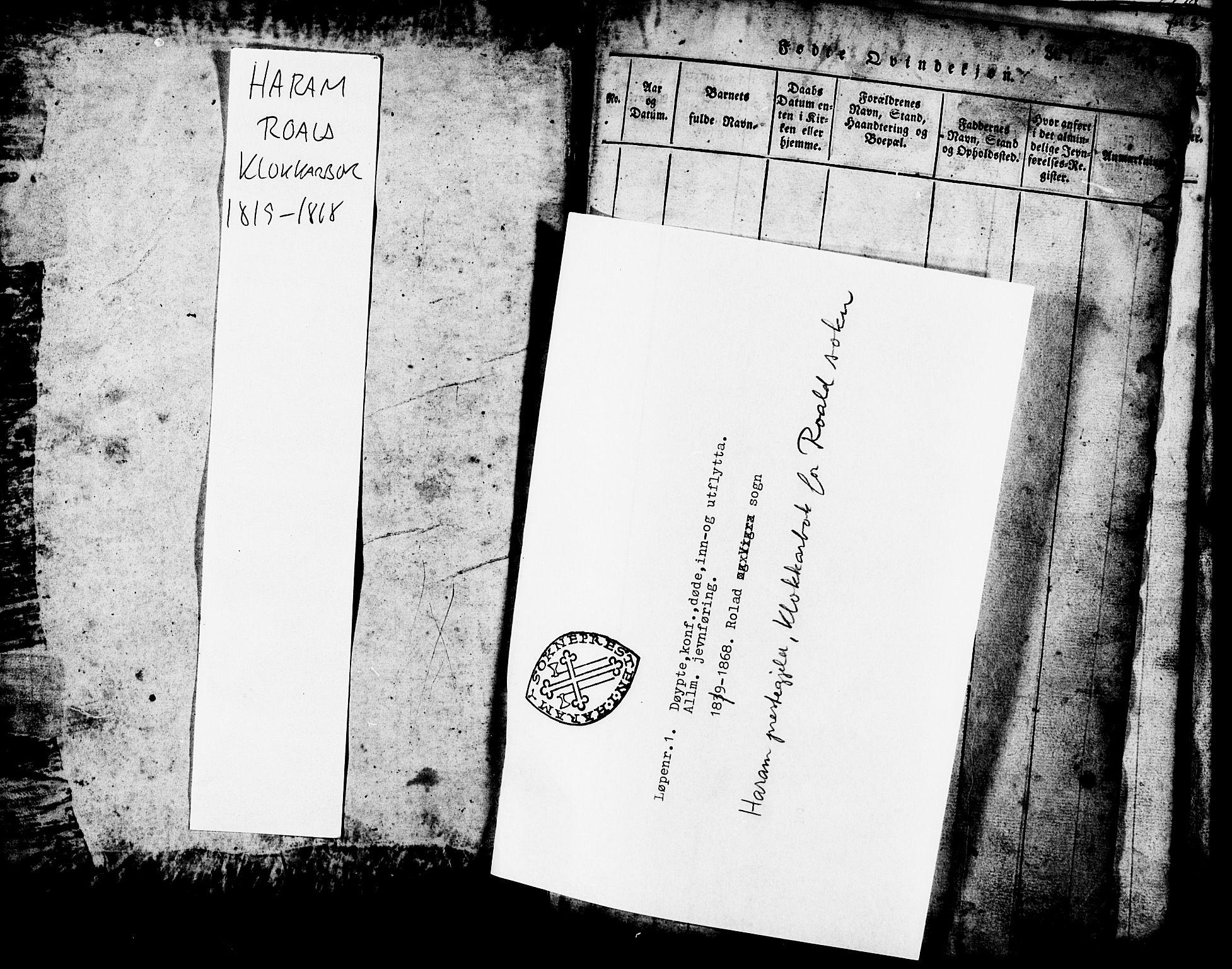 SAT, Ministerialprotokoller, klokkerbøker og fødselsregistre - Møre og Romsdal, 537/L0520: Klokkerbok nr. 537C01, 1819-1868, s. 1