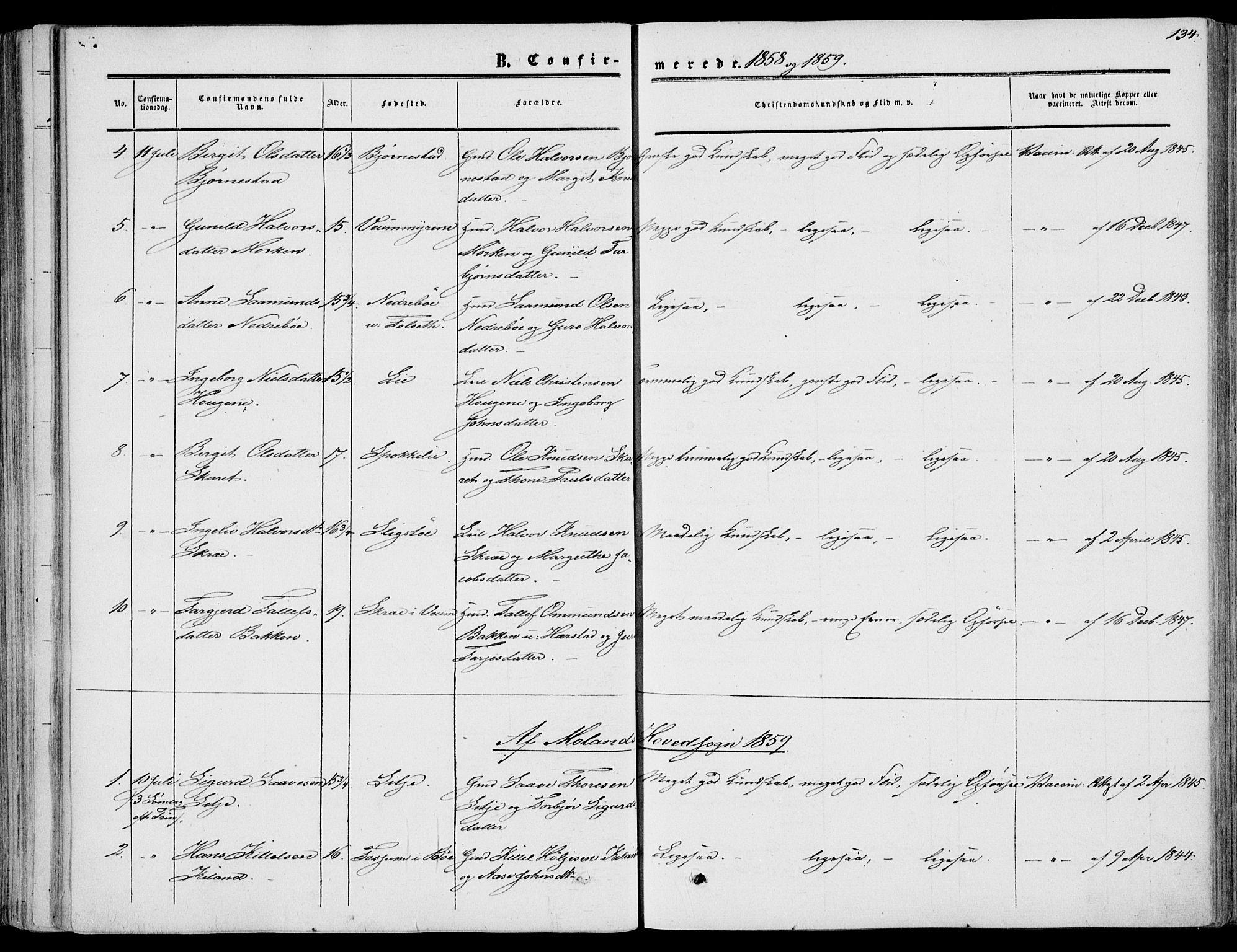 SAKO, Fyresdal kirkebøker, F/Fa/L0005: Ministerialbok nr. I 5, 1855-1871, s. 134