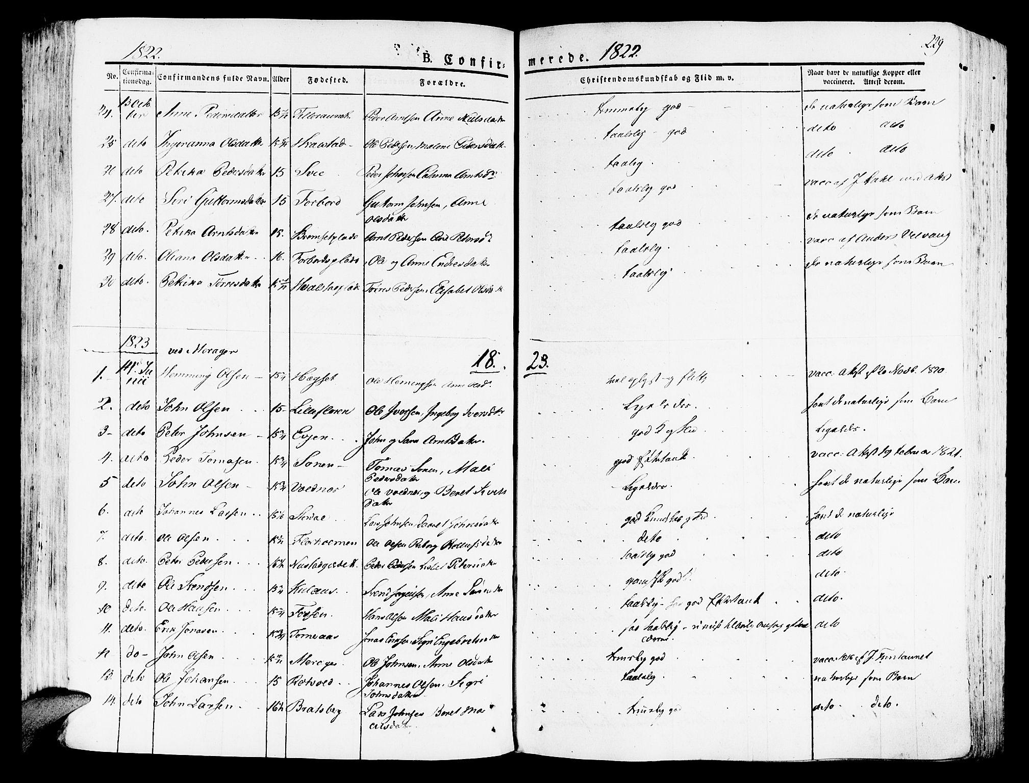 SAT, Ministerialprotokoller, klokkerbøker og fødselsregistre - Nord-Trøndelag, 709/L0070: Ministerialbok nr. 709A10, 1820-1832, s. 229