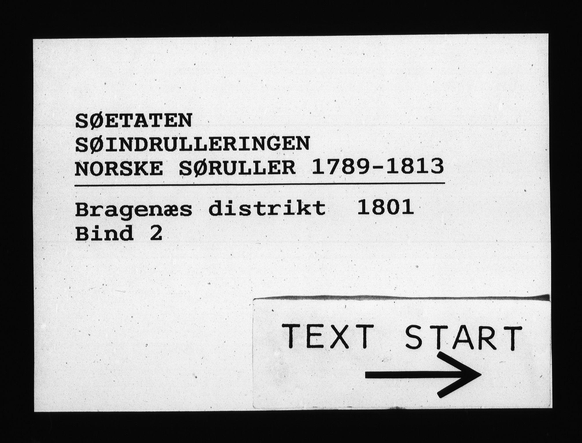 RA, Sjøetaten, F/L0135: Bragernes distrikt, bind 2, 1801