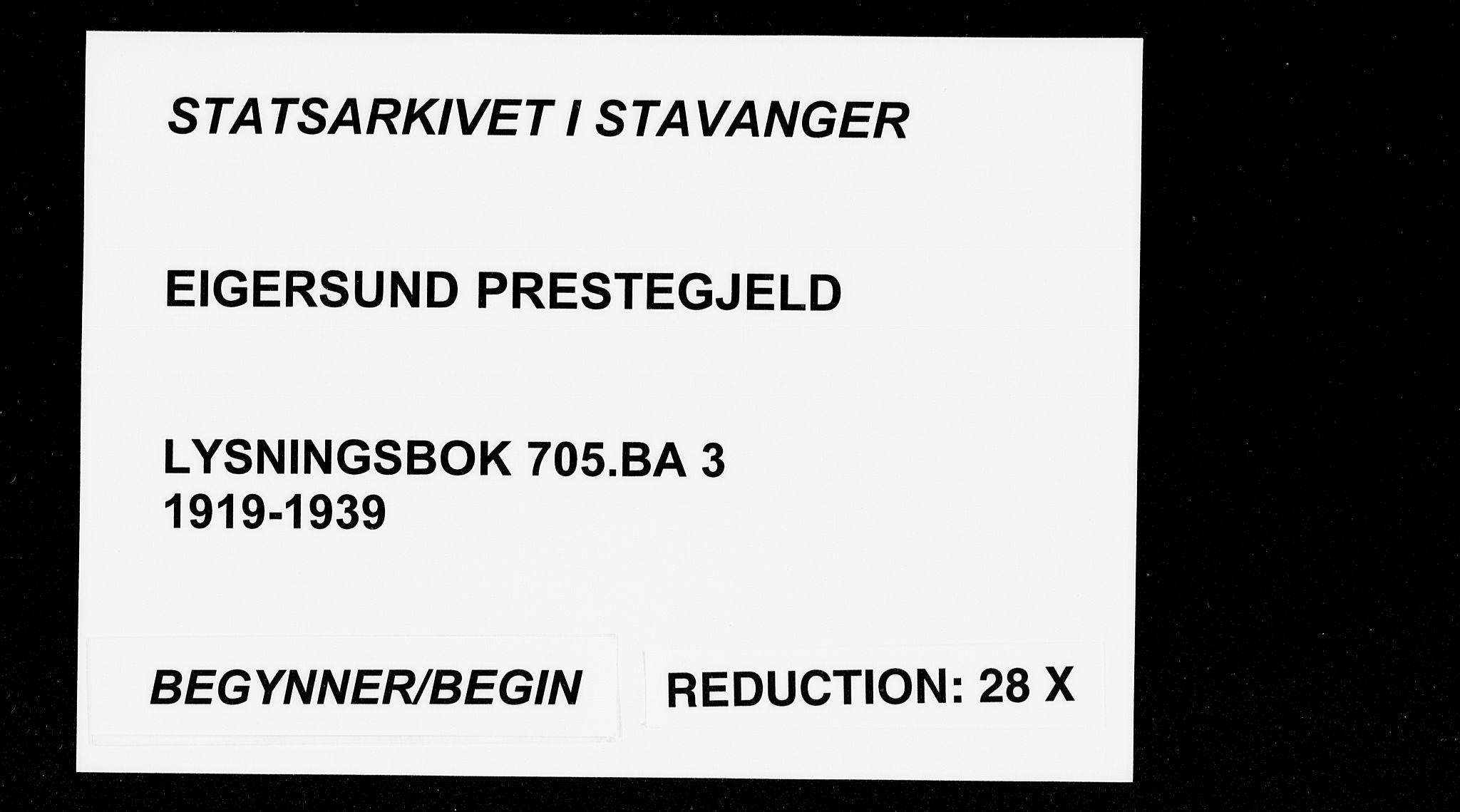 SAST, Egersund sokneprestkontor, Lysningsprotokoll nr. 705.BA.3, 1919-1939