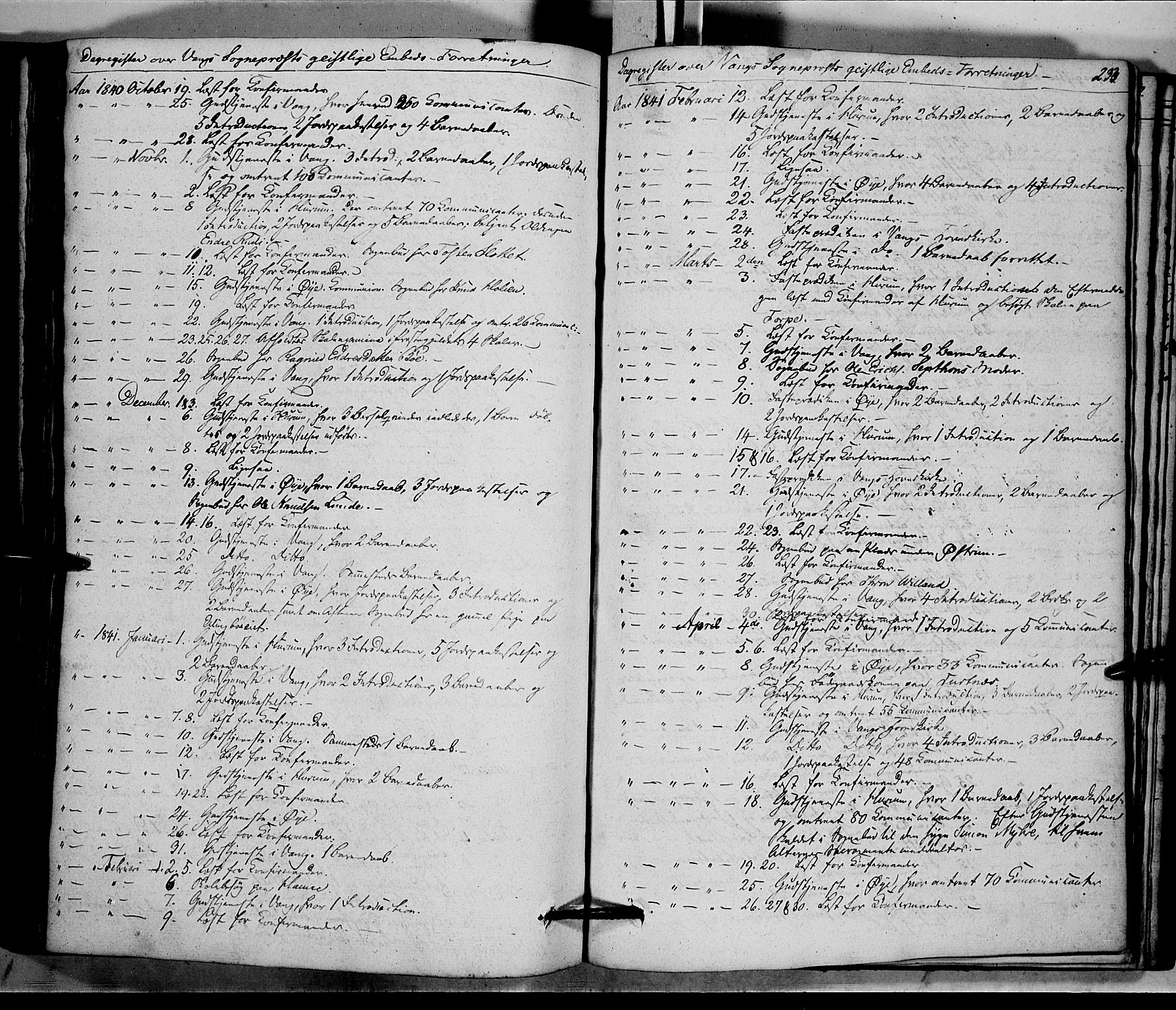 SAH, Vang prestekontor, Valdres, Ministerialbok nr. 5, 1831-1845, s. 233