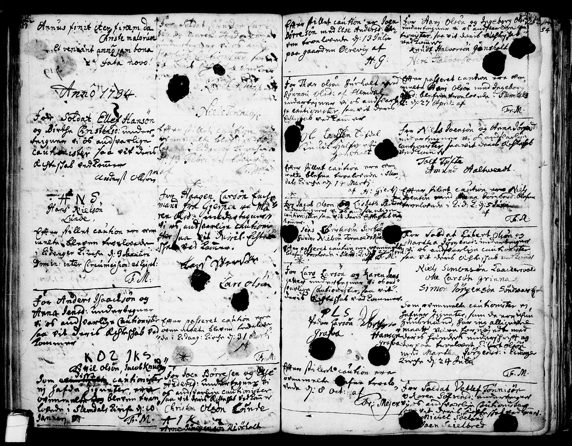 SAKO, Eidanger kirkebøker, F/Fa/L0004: Ministerialbok nr. 4, 1733-1759, s. 251-252