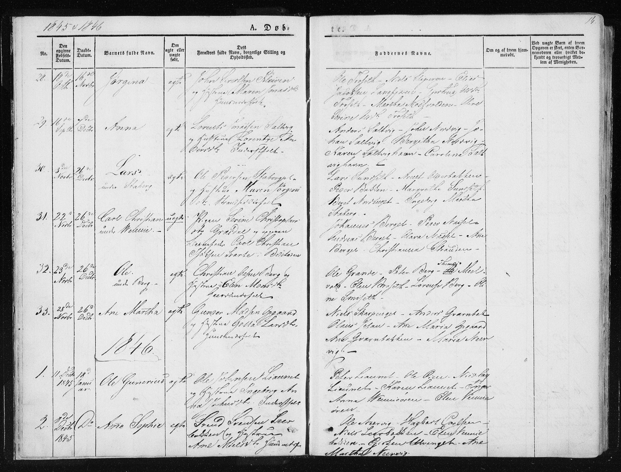 SAT, Ministerialprotokoller, klokkerbøker og fødselsregistre - Nord-Trøndelag, 733/L0323: Ministerialbok nr. 733A02, 1843-1870, s. 14