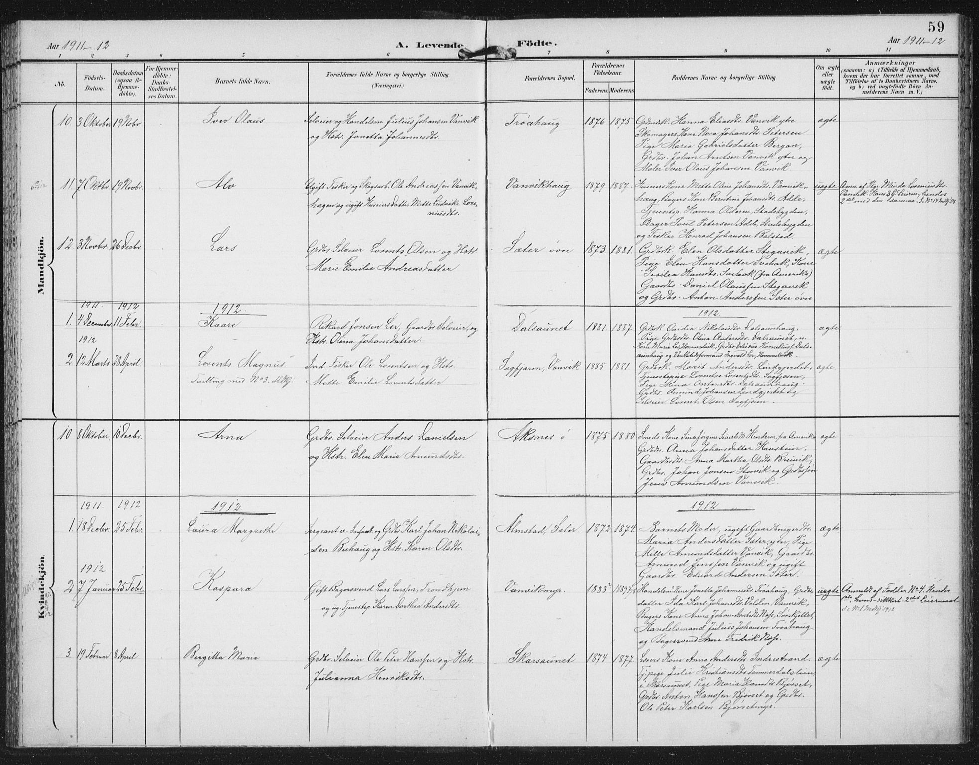 SAT, Ministerialprotokoller, klokkerbøker og fødselsregistre - Nord-Trøndelag, 702/L0024: Ministerialbok nr. 702A02, 1898-1914, s. 59