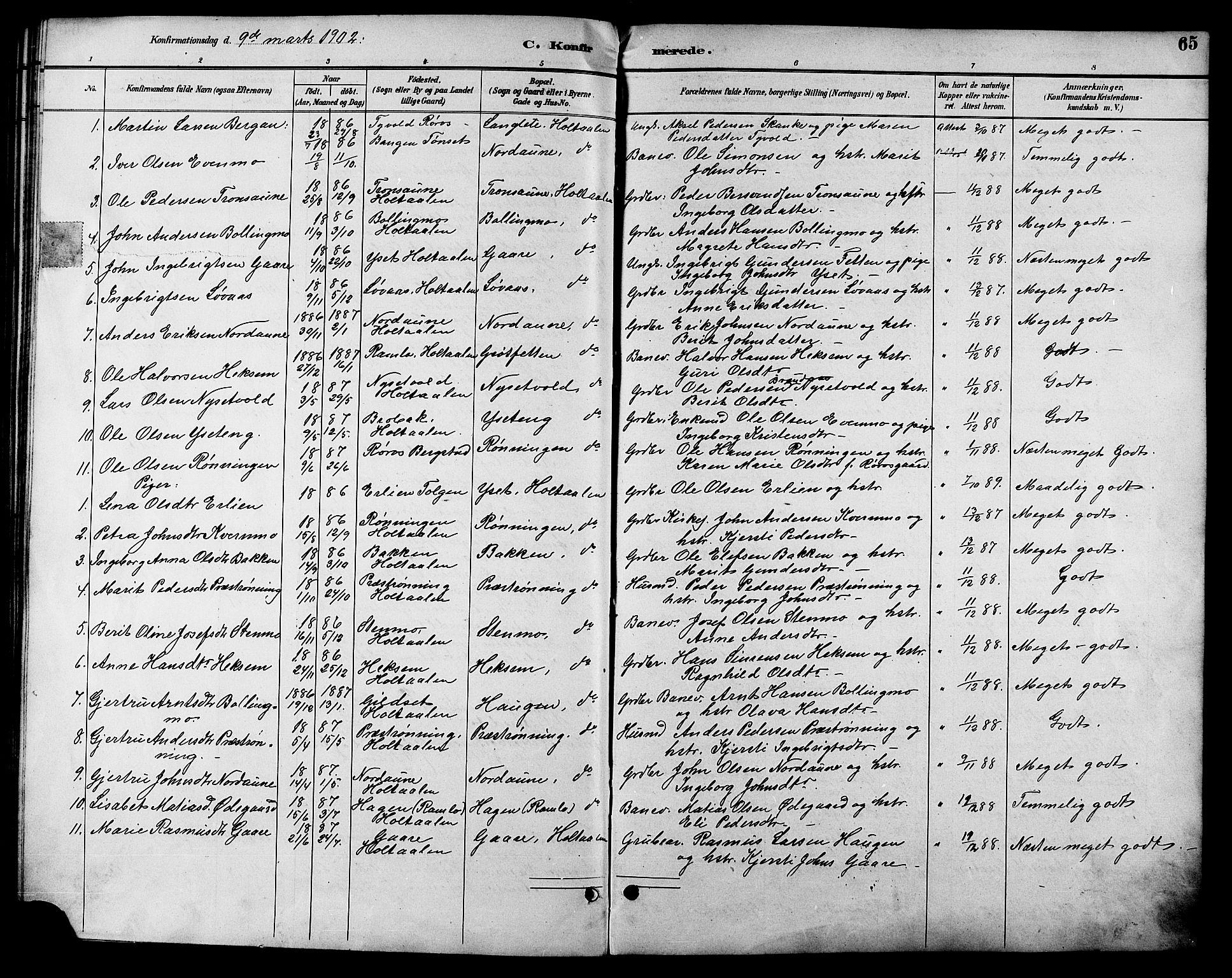 SAT, Ministerialprotokoller, klokkerbøker og fødselsregistre - Sør-Trøndelag, 685/L0978: Klokkerbok nr. 685C03, 1891-1907, s. 65