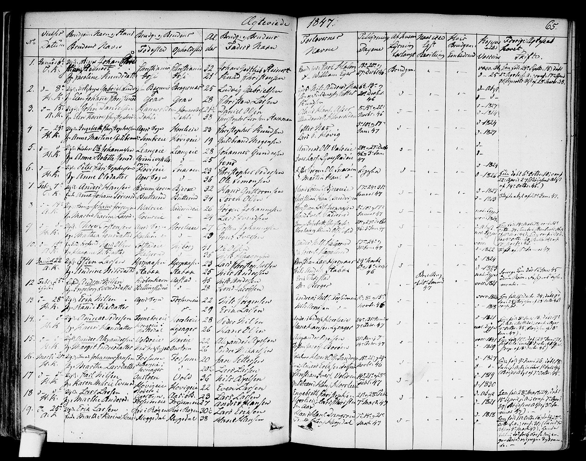 SAO, Asker prestekontor Kirkebøker, F/Fa/L0010: Ministerialbok nr. I 10, 1825-1878, s. 65