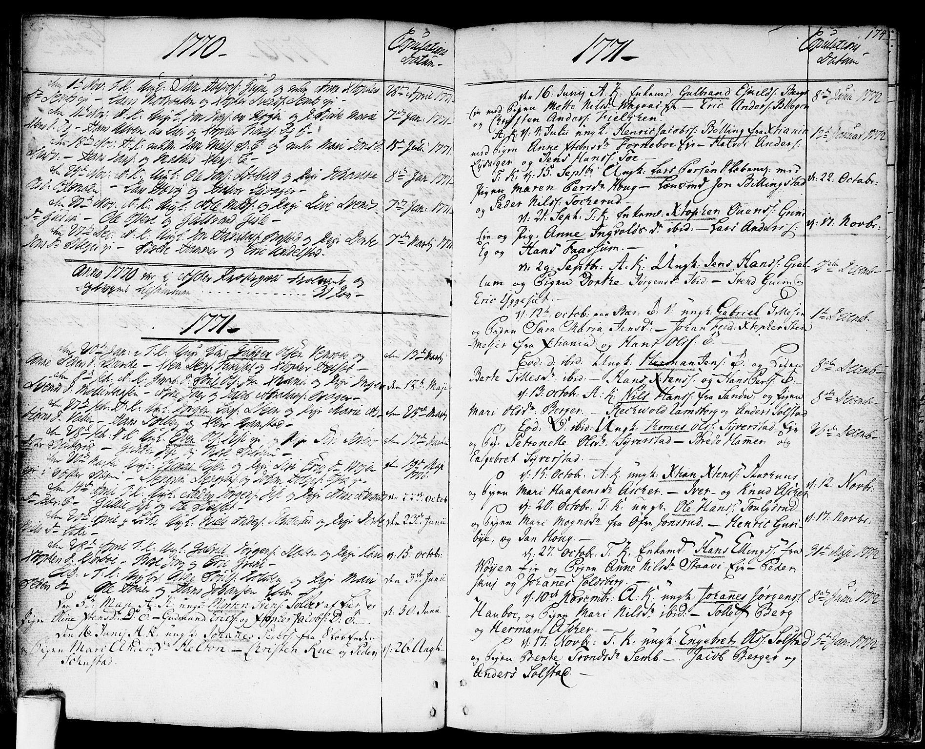 SAO, Asker prestekontor Kirkebøker, F/Fa/L0003: Ministerialbok nr. I 3, 1767-1807, s. 174