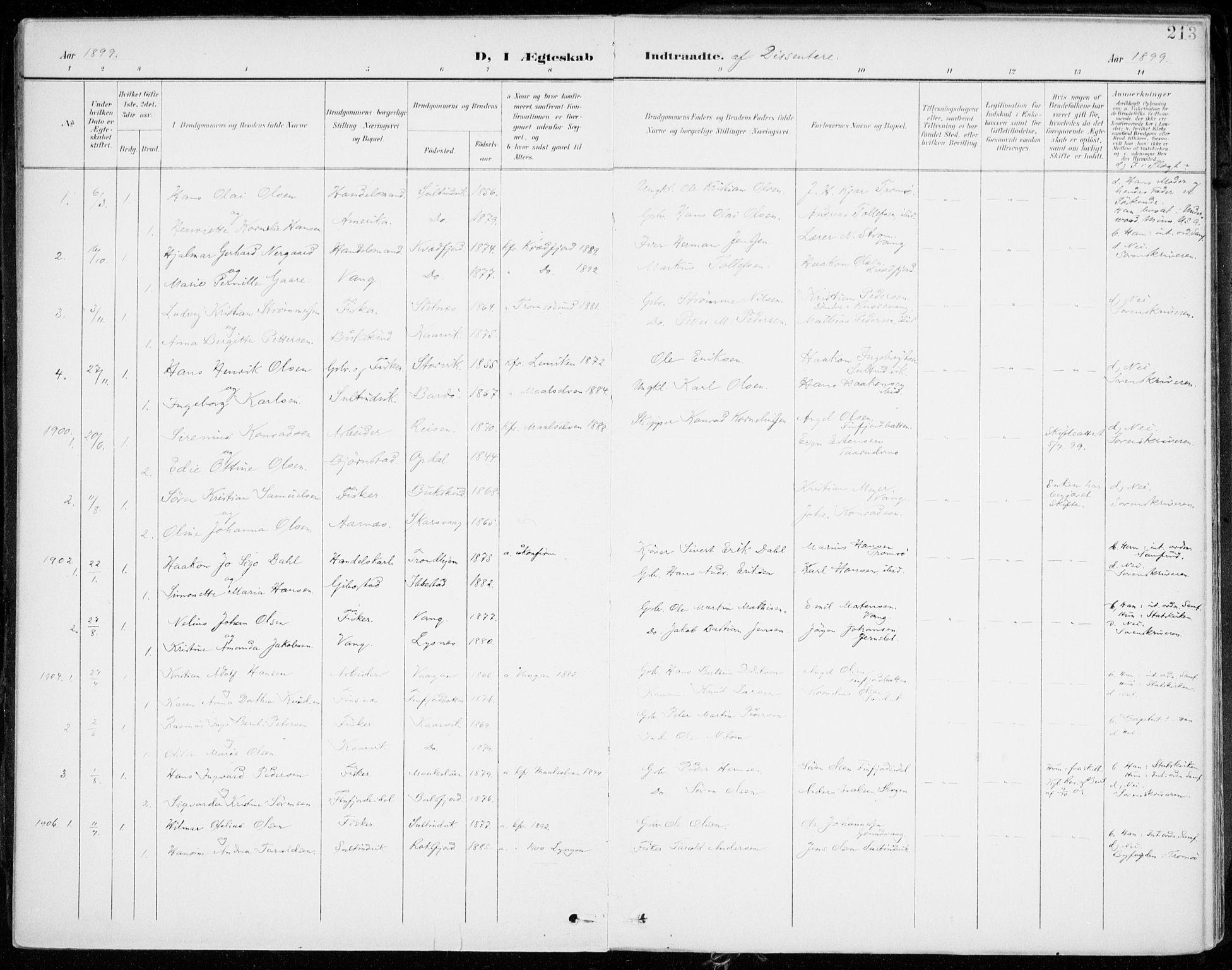 SATØ, Lenvik sokneprestembete, H/Ha: Ministerialbok nr. 14, 1899-1909, s. 213