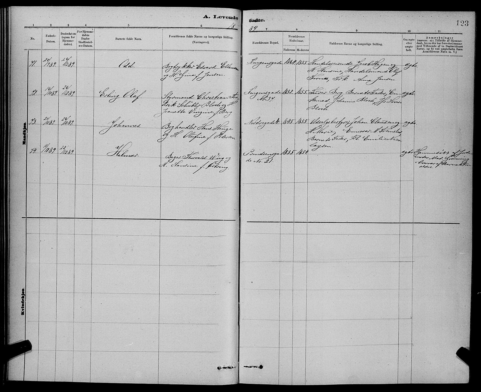 SAT, Ministerialprotokoller, klokkerbøker og fødselsregistre - Sør-Trøndelag, 601/L0092: Klokkerbok nr. 601C10, 1884-1897, s. 123