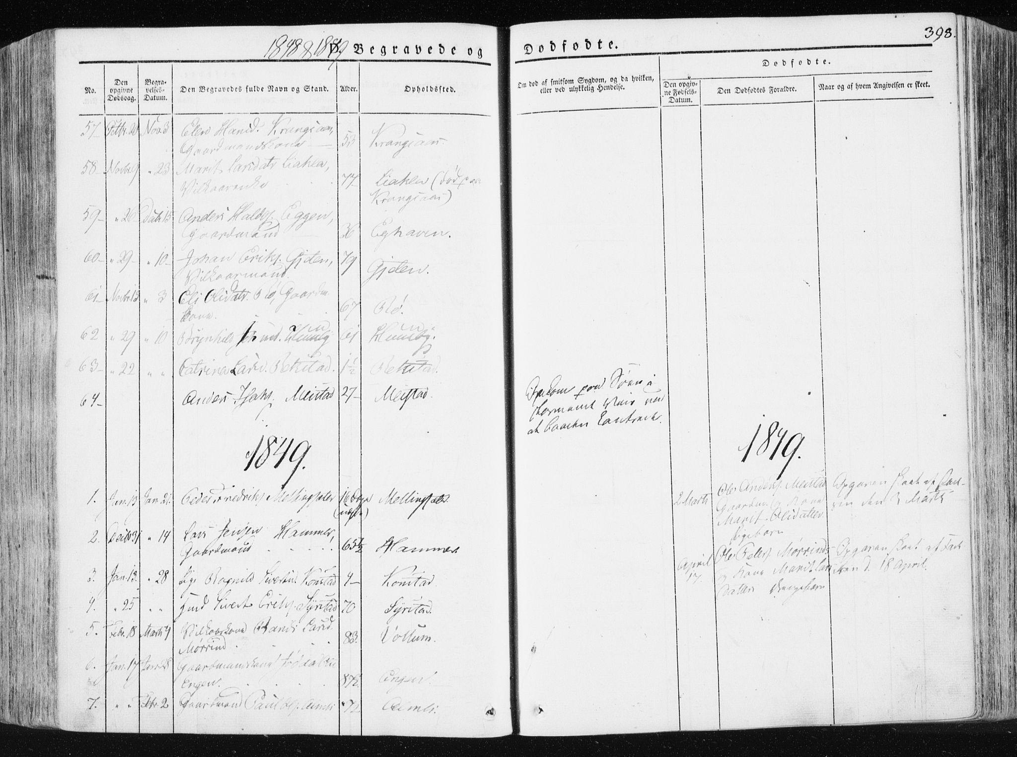 SAT, Ministerialprotokoller, klokkerbøker og fødselsregistre - Sør-Trøndelag, 665/L0771: Ministerialbok nr. 665A06, 1830-1856, s. 398