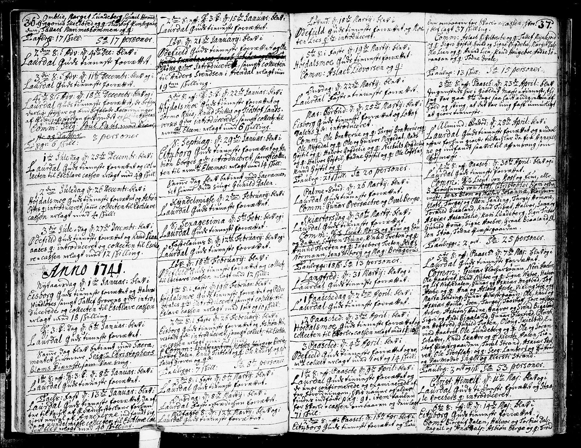SAKO, Lårdal kirkebøker, F/Fa/L0002: Ministerialbok nr. I 2, 1734-1754, s. 36-37