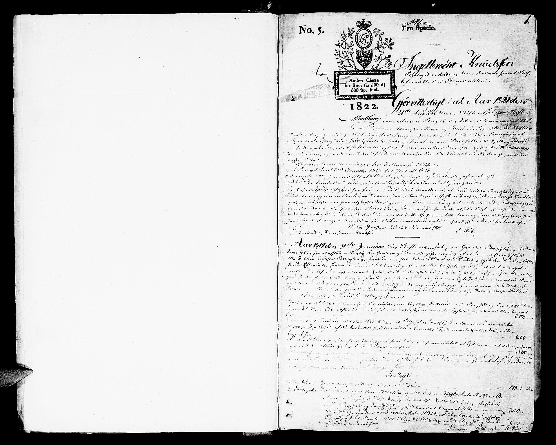 SAT, Romsdal sorenskriveri, 3/3A/L0015: Skifteutlodnings Protokoll 1, 1821-1823, s. 1