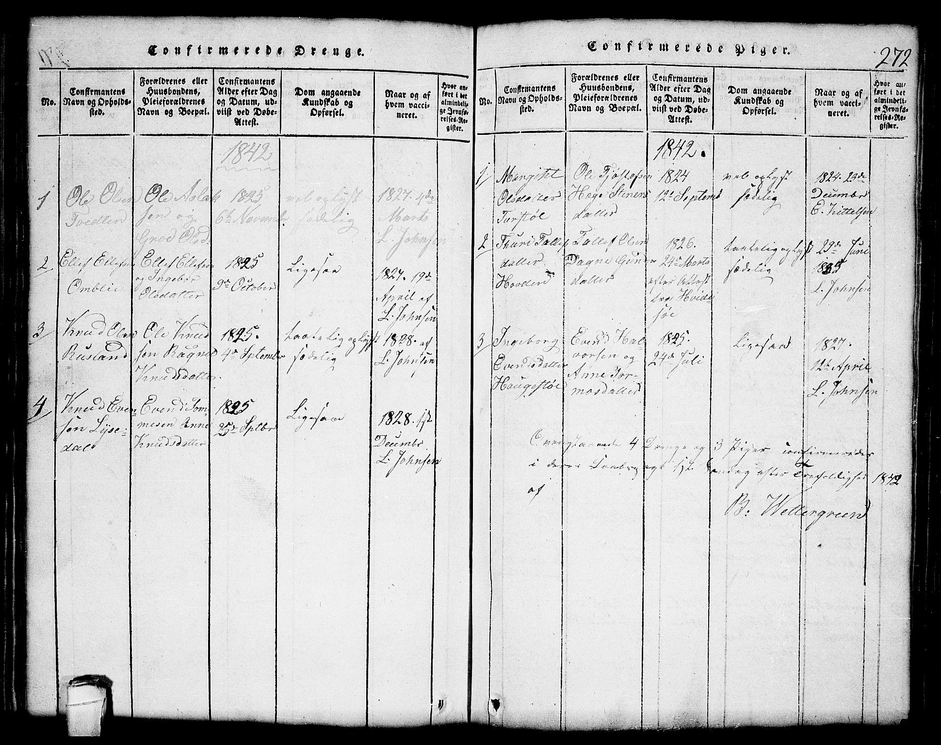 SAKO, Lårdal kirkebøker, G/Gc/L0001: Klokkerbok nr. III 1, 1815-1854, s. 272