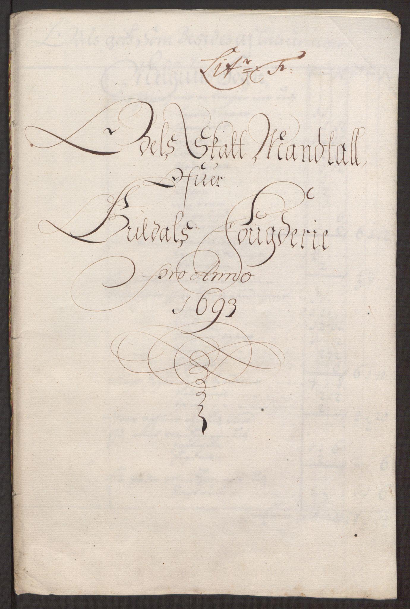 RA, Rentekammeret inntil 1814, Reviderte regnskaper, Fogderegnskap, R59/L3943: Fogderegnskap Gauldal, 1693, s. 95