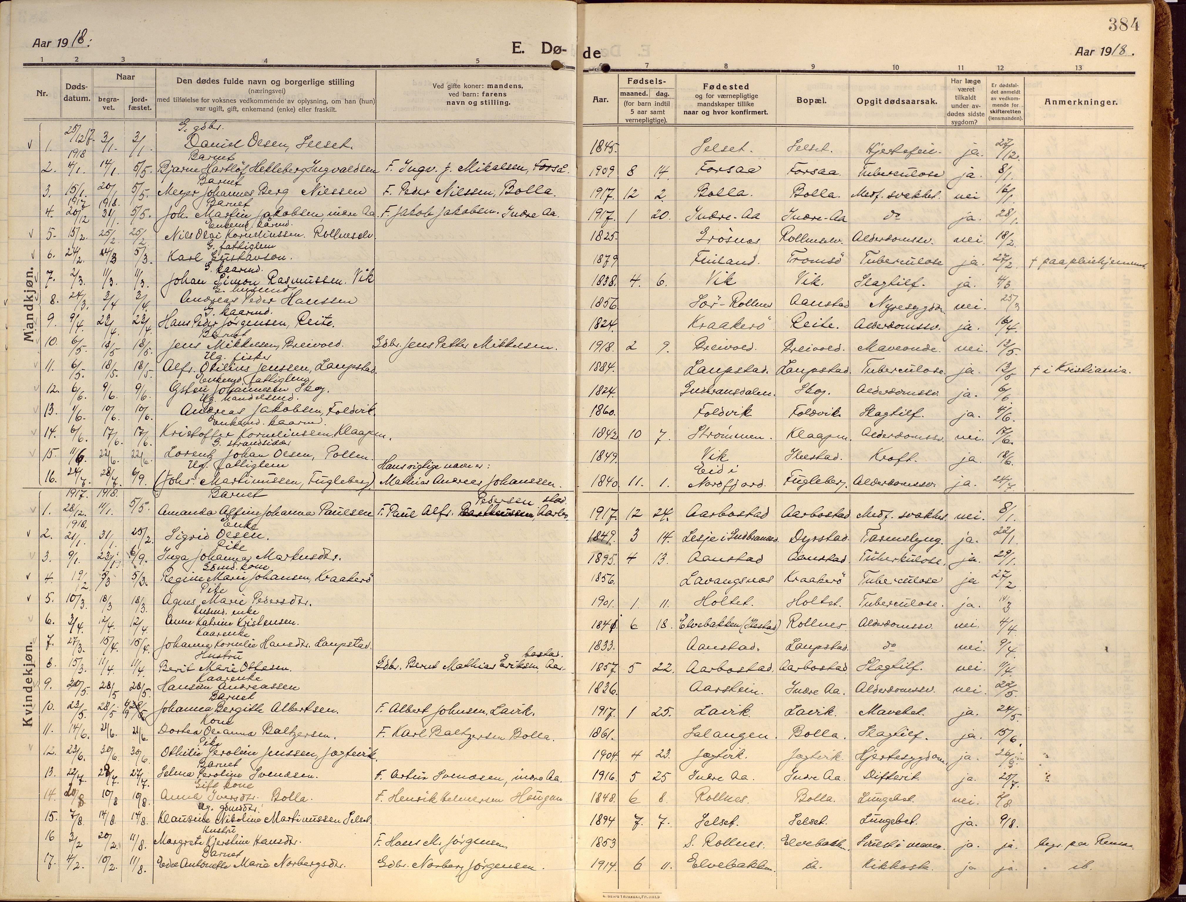 SATØ, Ibestad sokneprestembete, Ministerialbok nr. 18, 1915-1929, s. 384