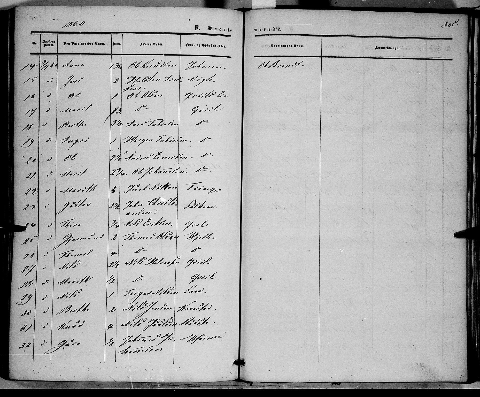 SAH, Vestre Slidre prestekontor, Ministerialbok nr. 2, 1856-1864, s. 305