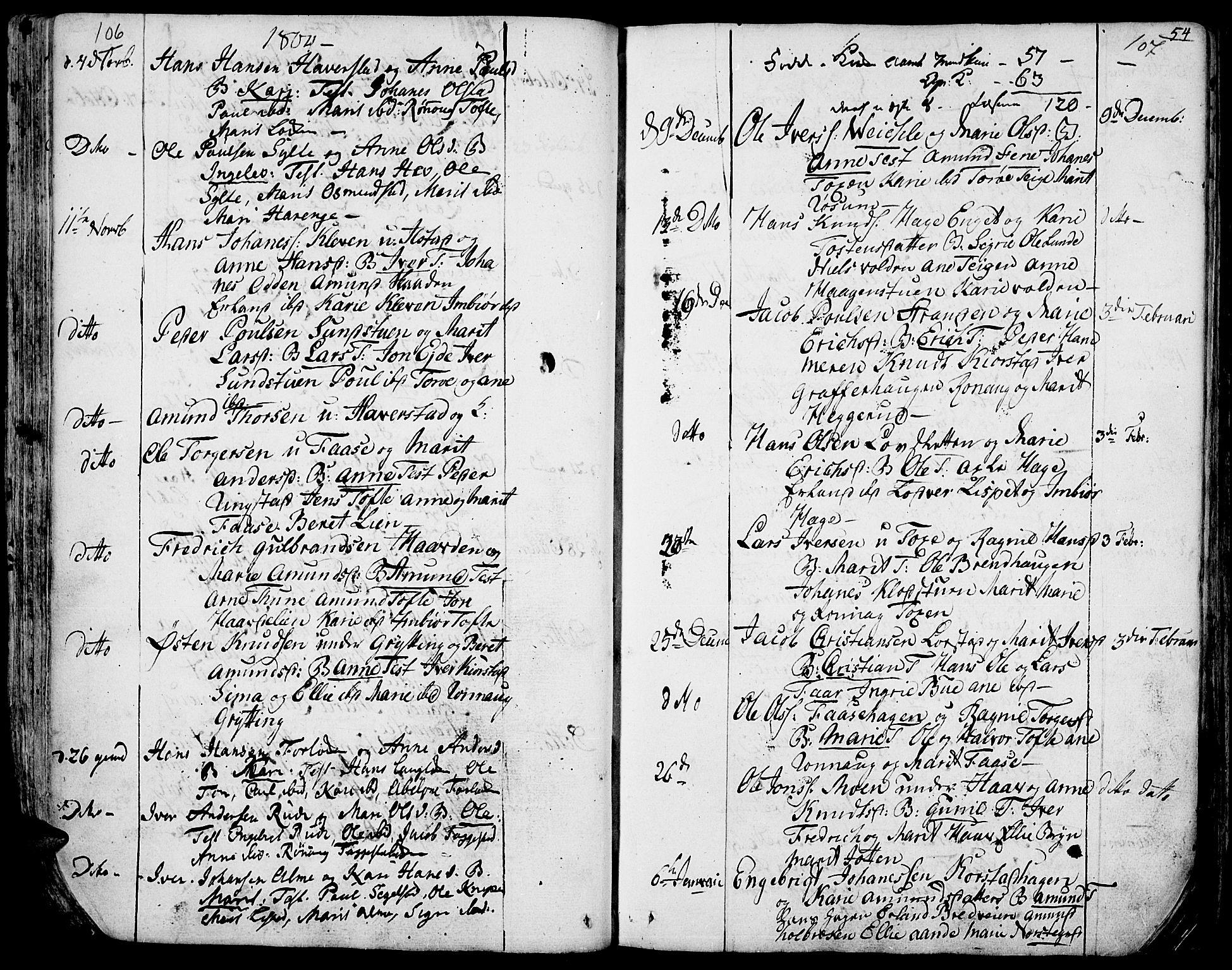 SAH, Fron prestekontor, H/Ha/Haa/L0001: Ministerialbok nr. 1, 1799-1816, s. 106-107