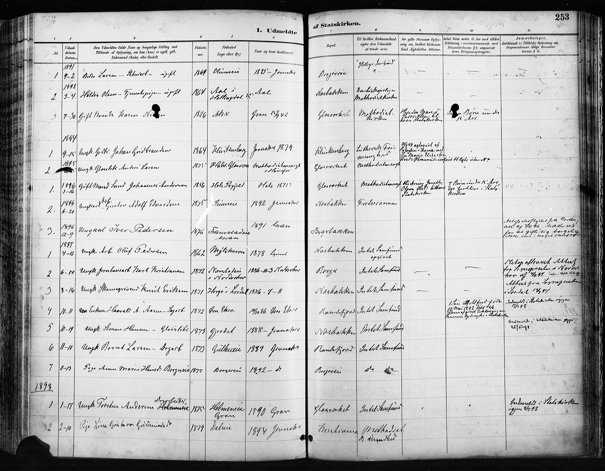 SAH, Jevnaker prestekontor, Ministerialbok nr. 9, 1891-1901, s. 253