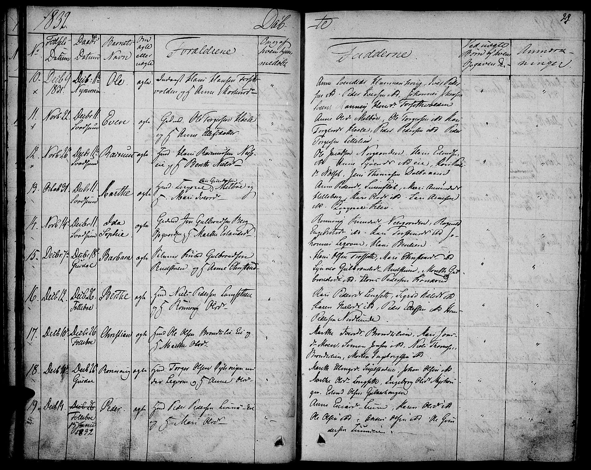 SAH, Gausdal prestekontor, Ministerialbok nr. 6, 1830-1839, s. 29
