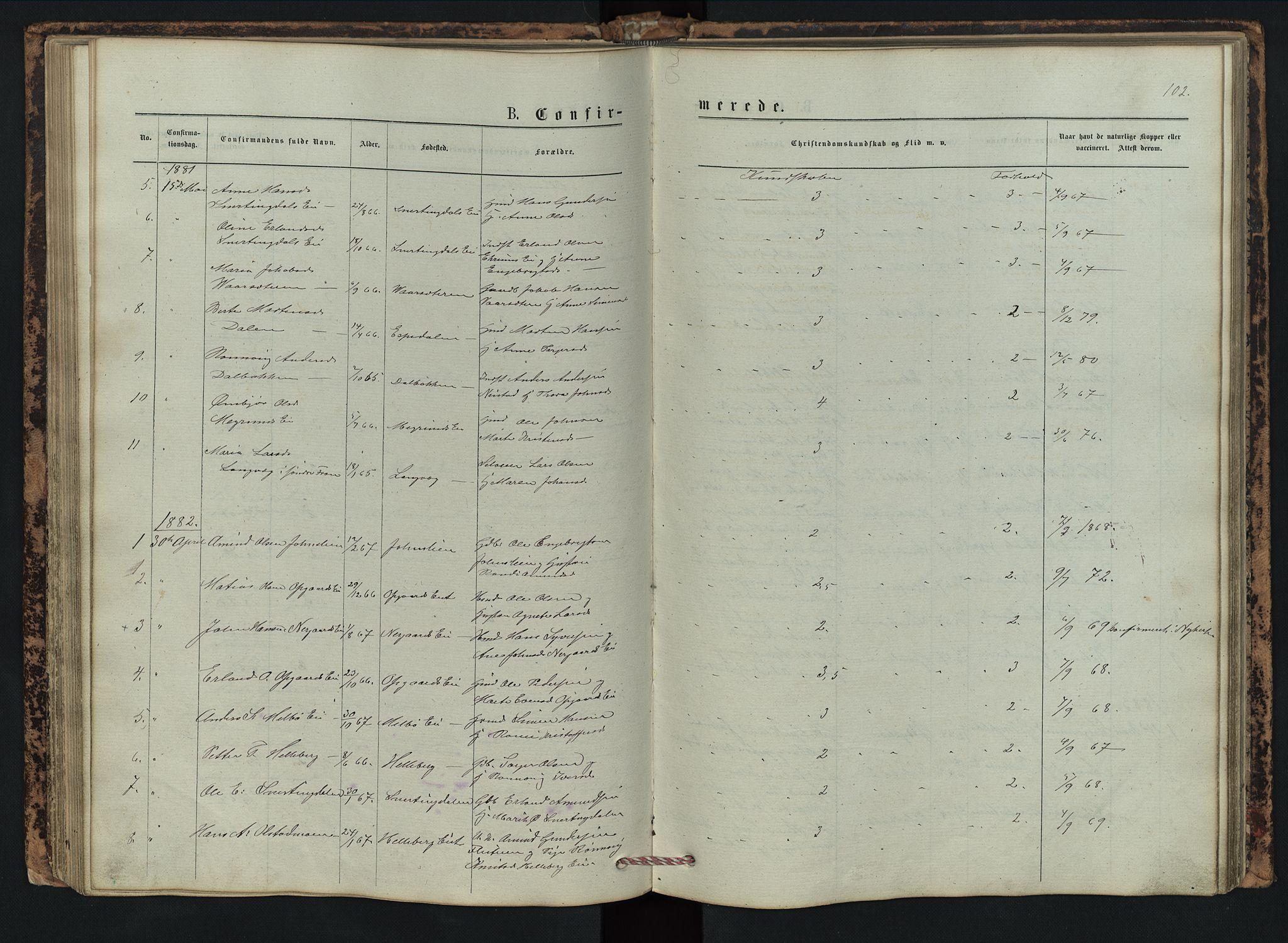 SAH, Vestre Gausdal prestekontor, Klokkerbok nr. 2, 1874-1897, s. 102