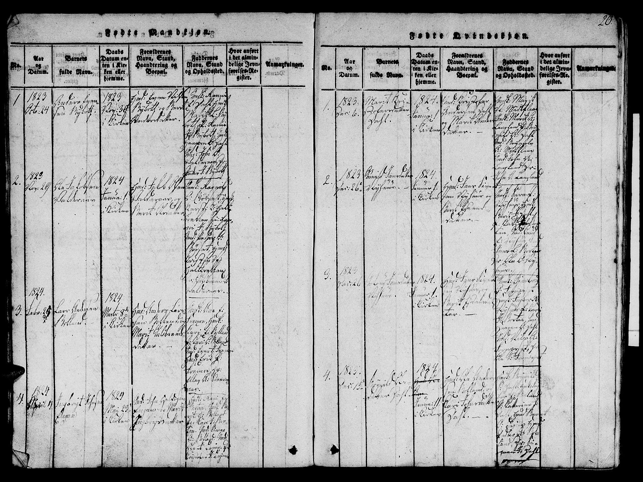 SAT, Ministerialprotokoller, klokkerbøker og fødselsregistre - Sør-Trøndelag, 693/L1121: Klokkerbok nr. 693C02, 1816-1869, s. 20