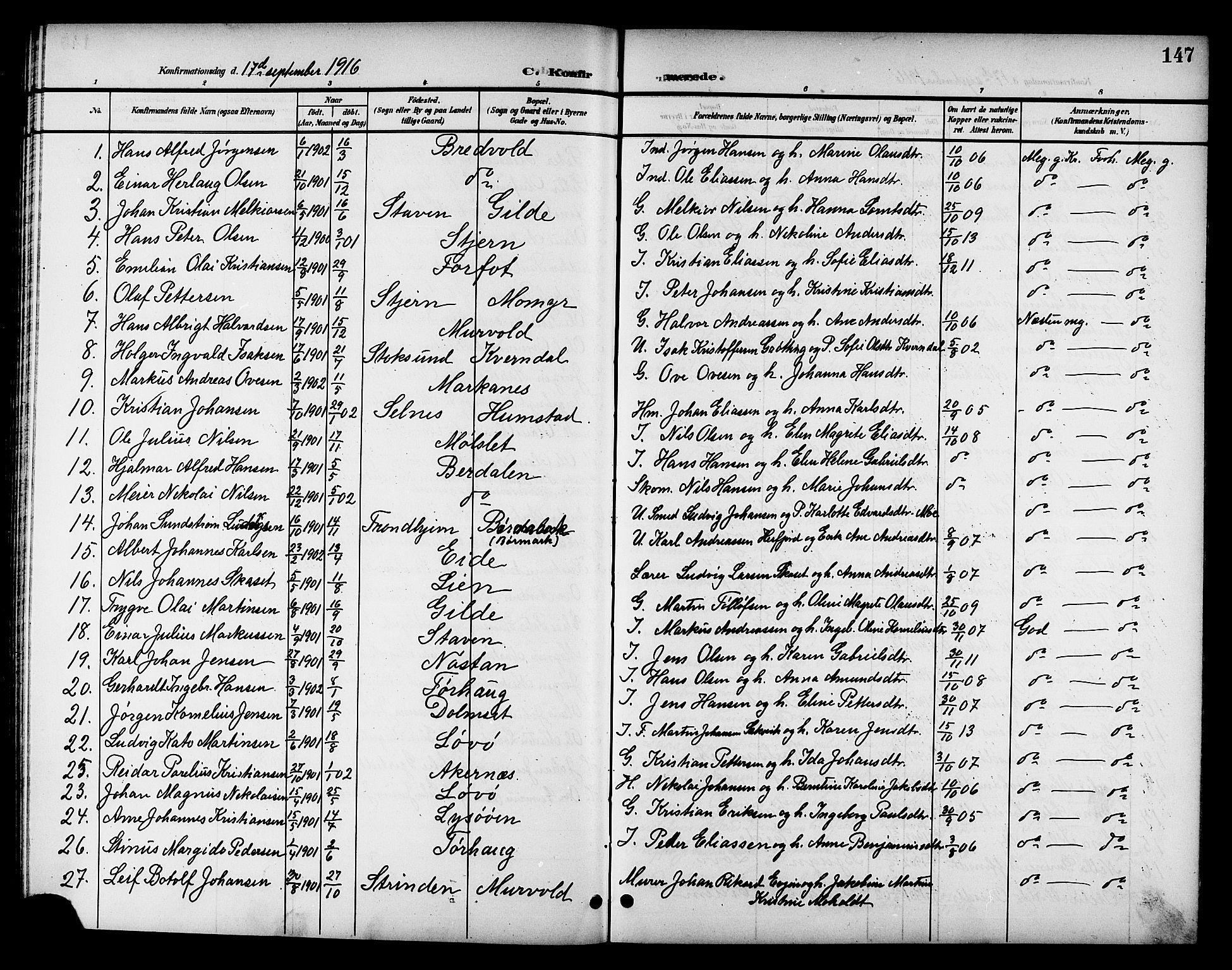 SAT, Ministerialprotokoller, klokkerbøker og fødselsregistre - Sør-Trøndelag, 655/L0688: Klokkerbok nr. 655C04, 1899-1922, s. 147