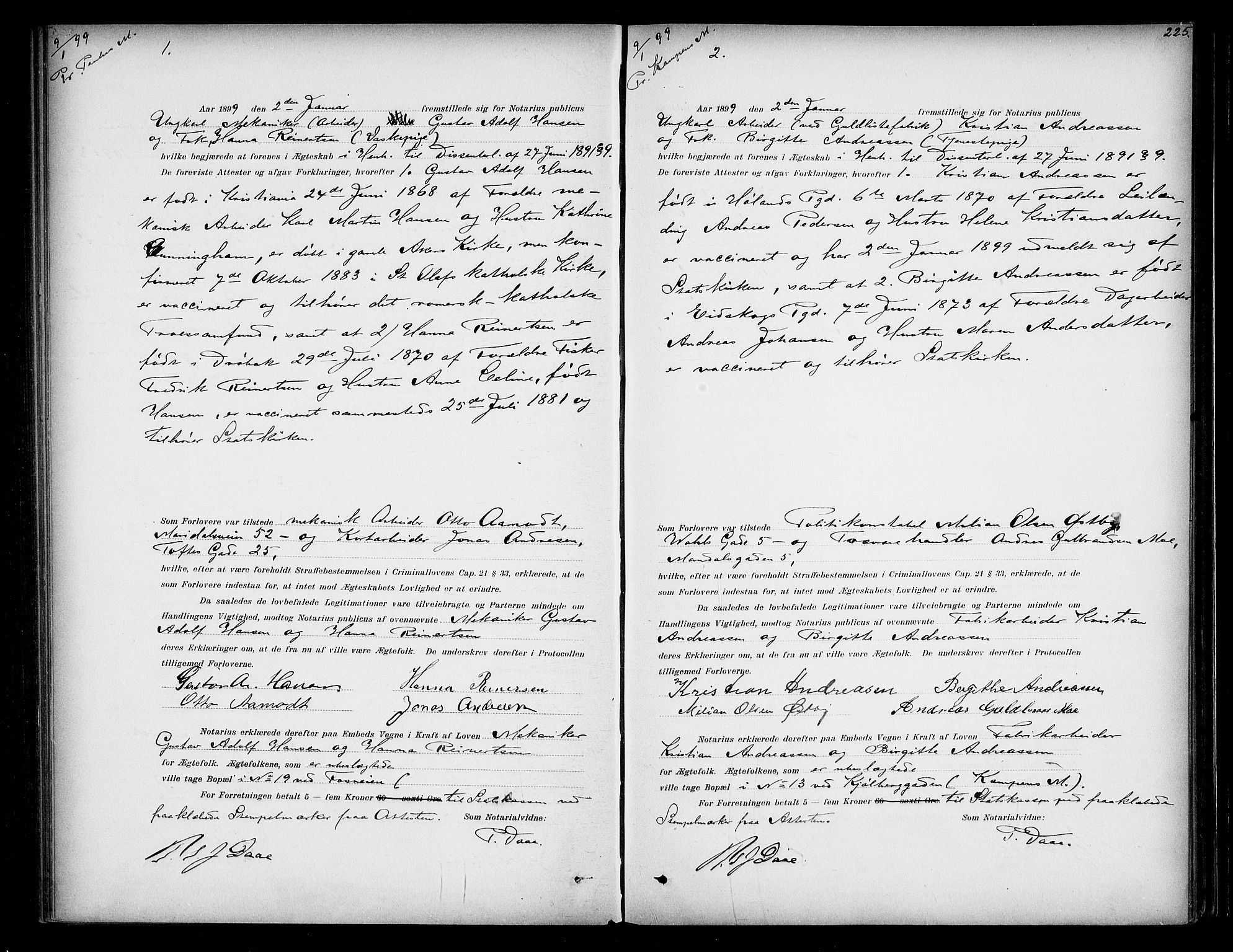 SAO, Oslo byfogd avd. I, L/Lb/Lbb/L0004: Notarialprotokoll, rekke II: Vigsler, 1897-1902, s. 224b-225a