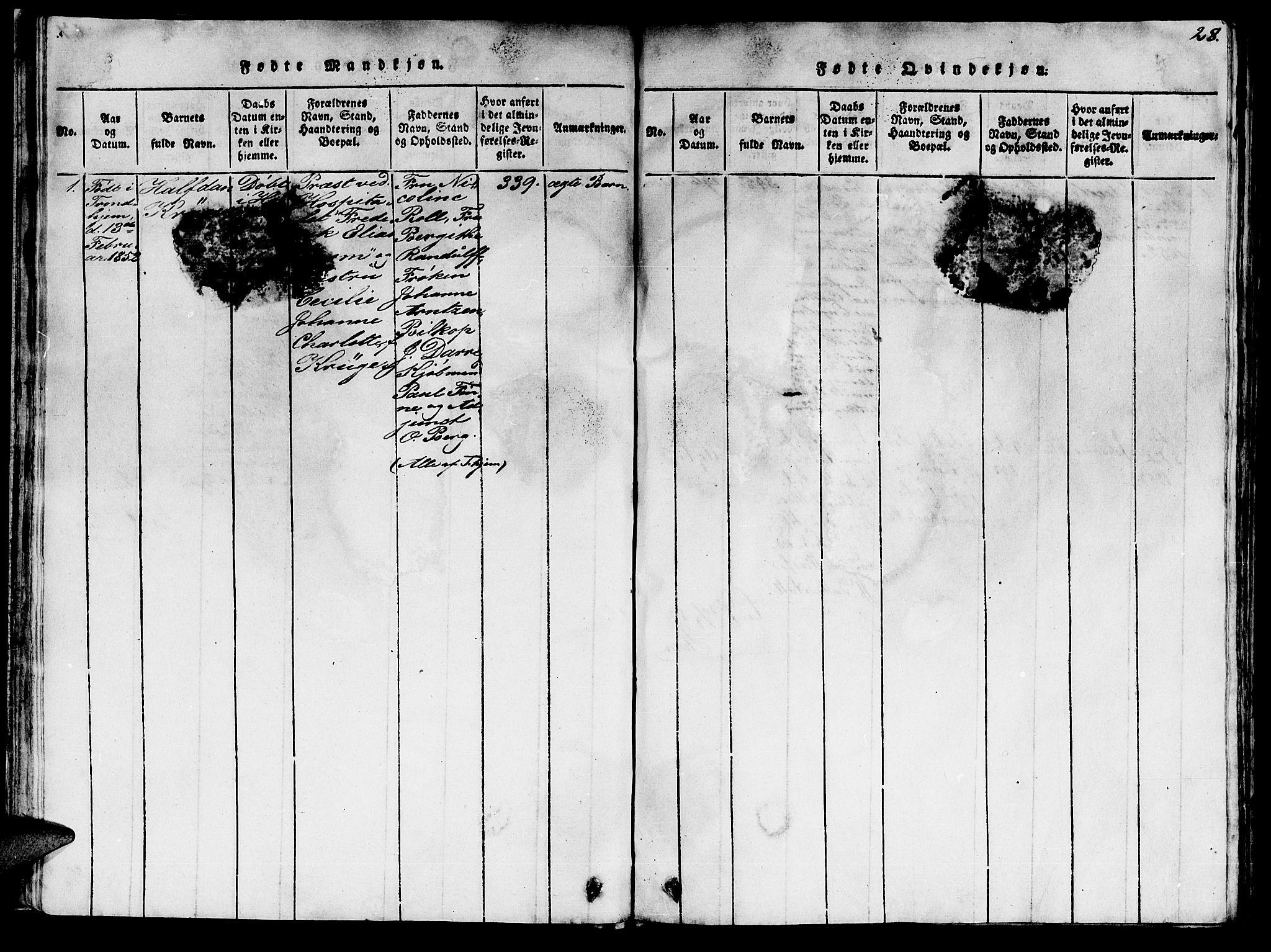 SAT, Ministerialprotokoller, klokkerbøker og fødselsregistre - Sør-Trøndelag, 623/L0478: Klokkerbok nr. 623C01, 1815-1873, s. 28