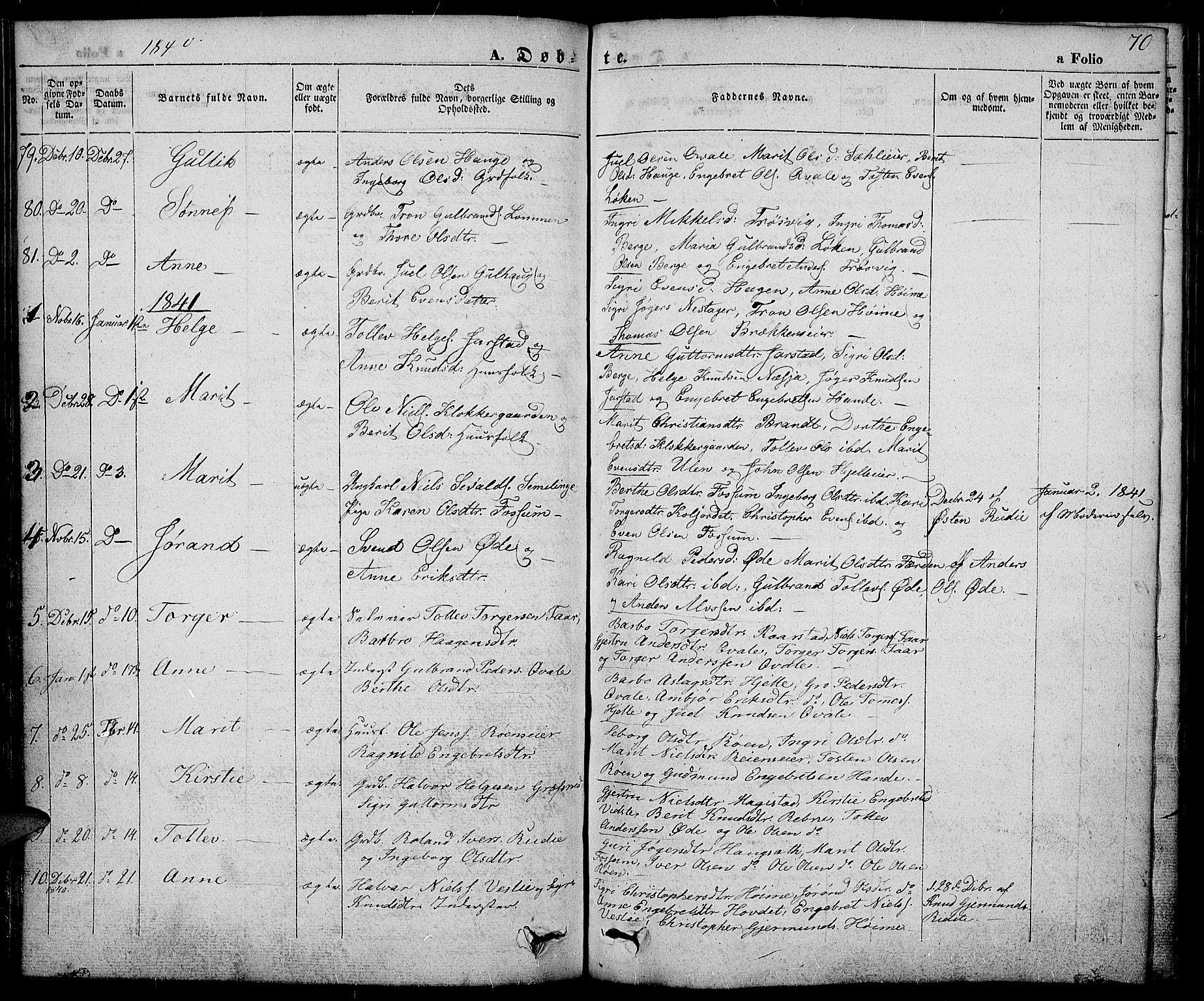 SAH, Slidre prestekontor, Ministerialbok nr. 3, 1831-1843, s. 70