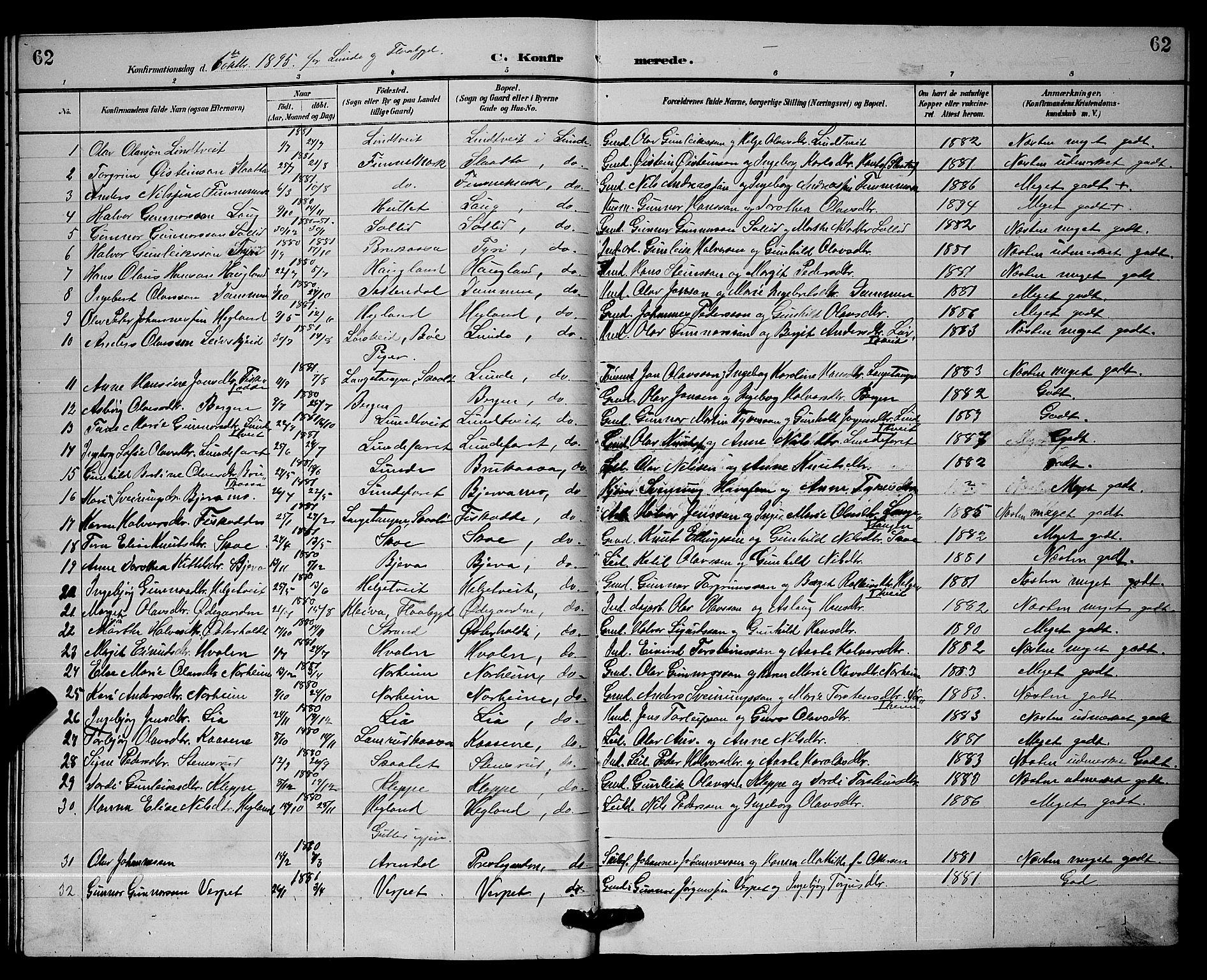SAKO, Lunde kirkebøker, G/Ga/L0002: Klokkerbok nr. I 2, 1887-1896, s. 62
