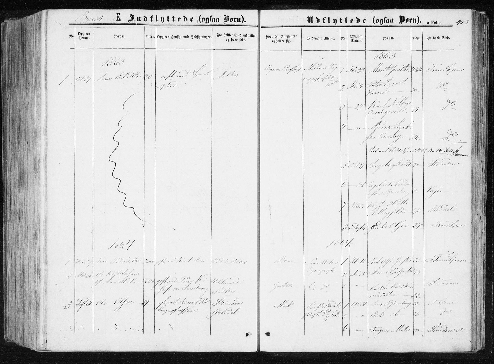 SAT, Ministerialprotokoller, klokkerbøker og fødselsregistre - Sør-Trøndelag, 612/L0377: Ministerialbok nr. 612A09, 1859-1877, s. 463