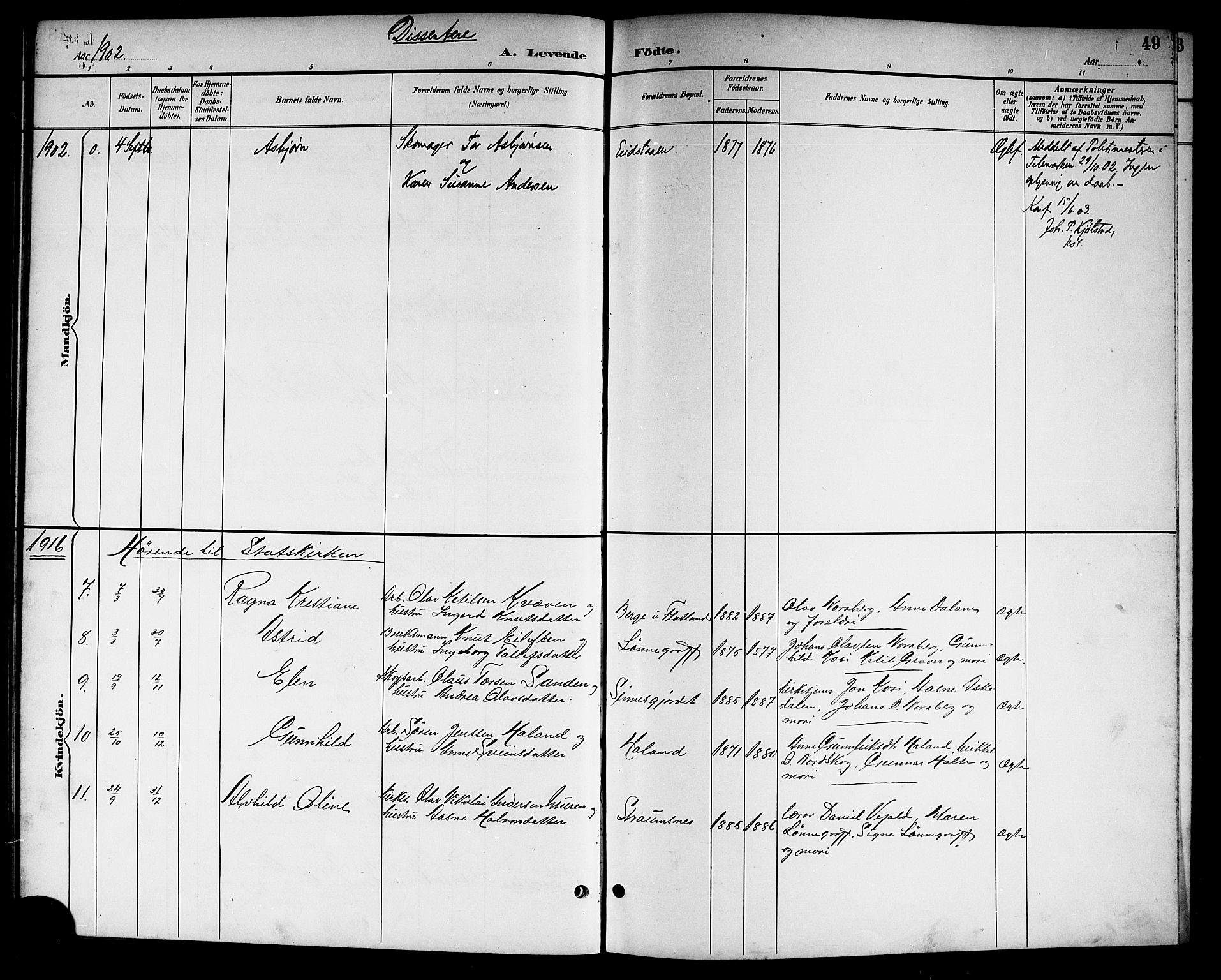SAKO, Kviteseid kirkebøker, G/Gc/L0001: Klokkerbok nr. III 1, 1893-1916, s. 49