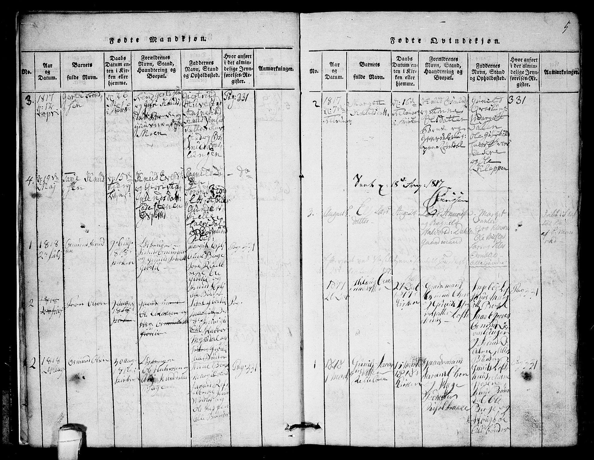 SAKO, Lårdal kirkebøker, G/Gb/L0001: Klokkerbok nr. II 1, 1815-1865, s. 5