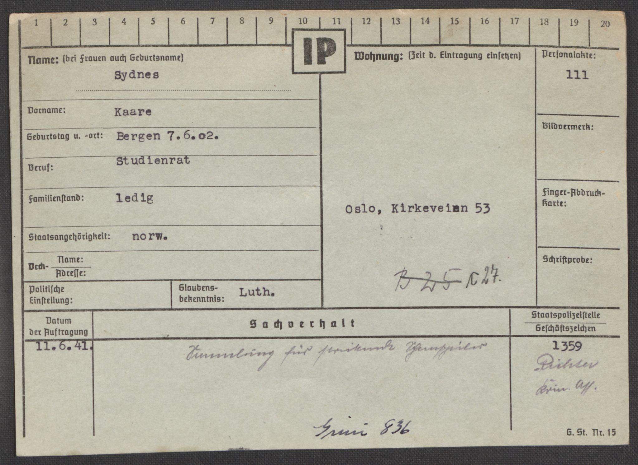 RA, Befehlshaber der Sicherheitspolizei und des SD, E/Ea/Eaa/L0009: Register over norske fanger i Møllergata 19: Ru-Sy, 1940-1945, s. 1608