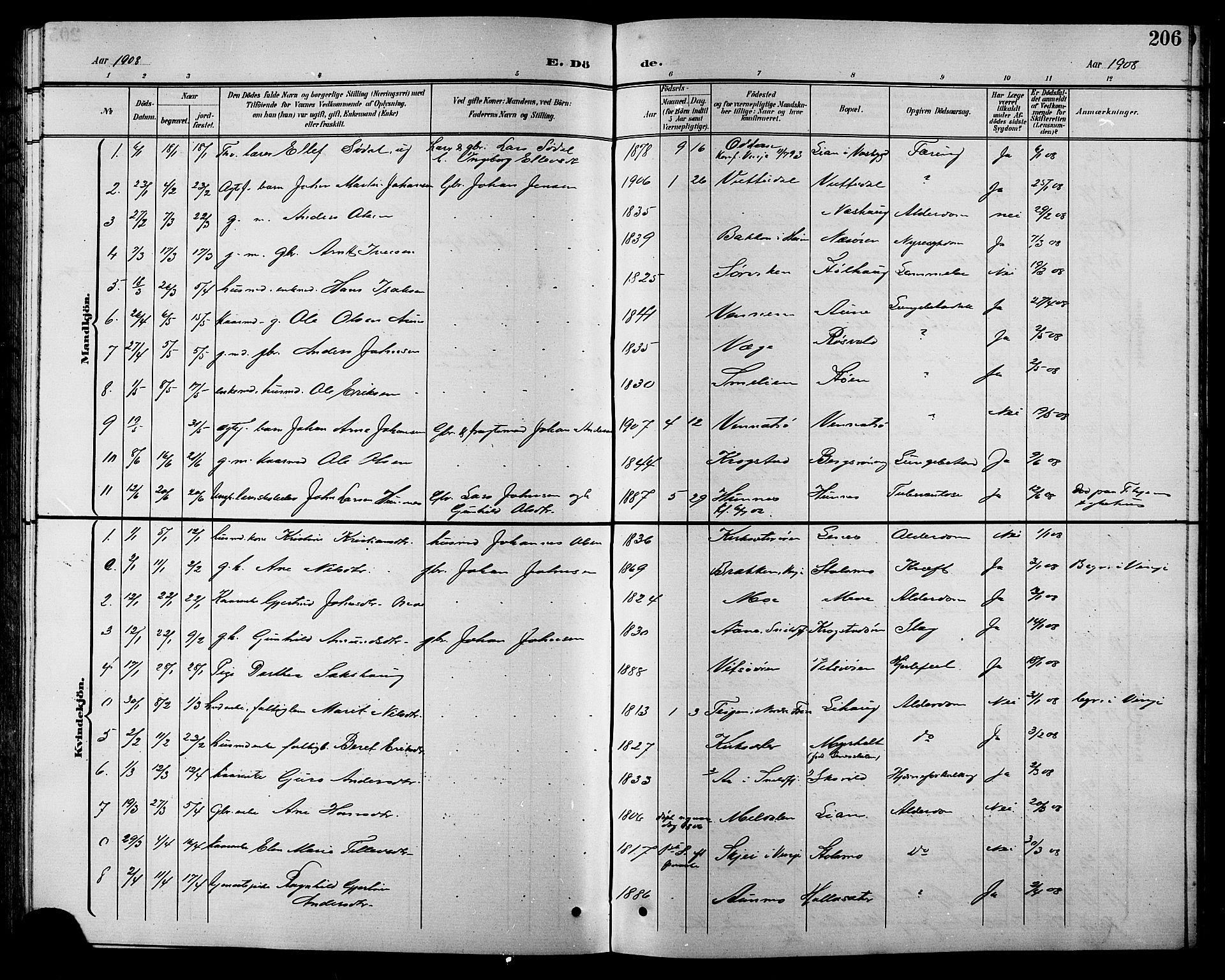 SAT, Ministerialprotokoller, klokkerbøker og fødselsregistre - Sør-Trøndelag, 630/L0505: Klokkerbok nr. 630C03, 1899-1914, s. 206